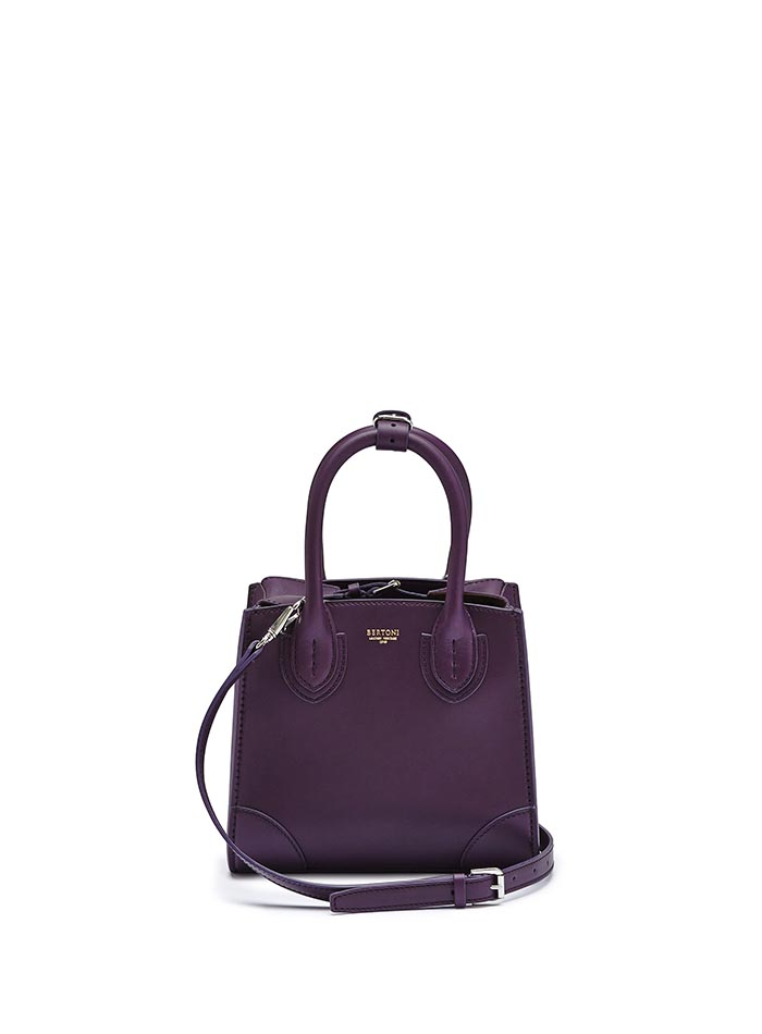 The aubergine color french calf Darcy small bag by Bertoni 1949