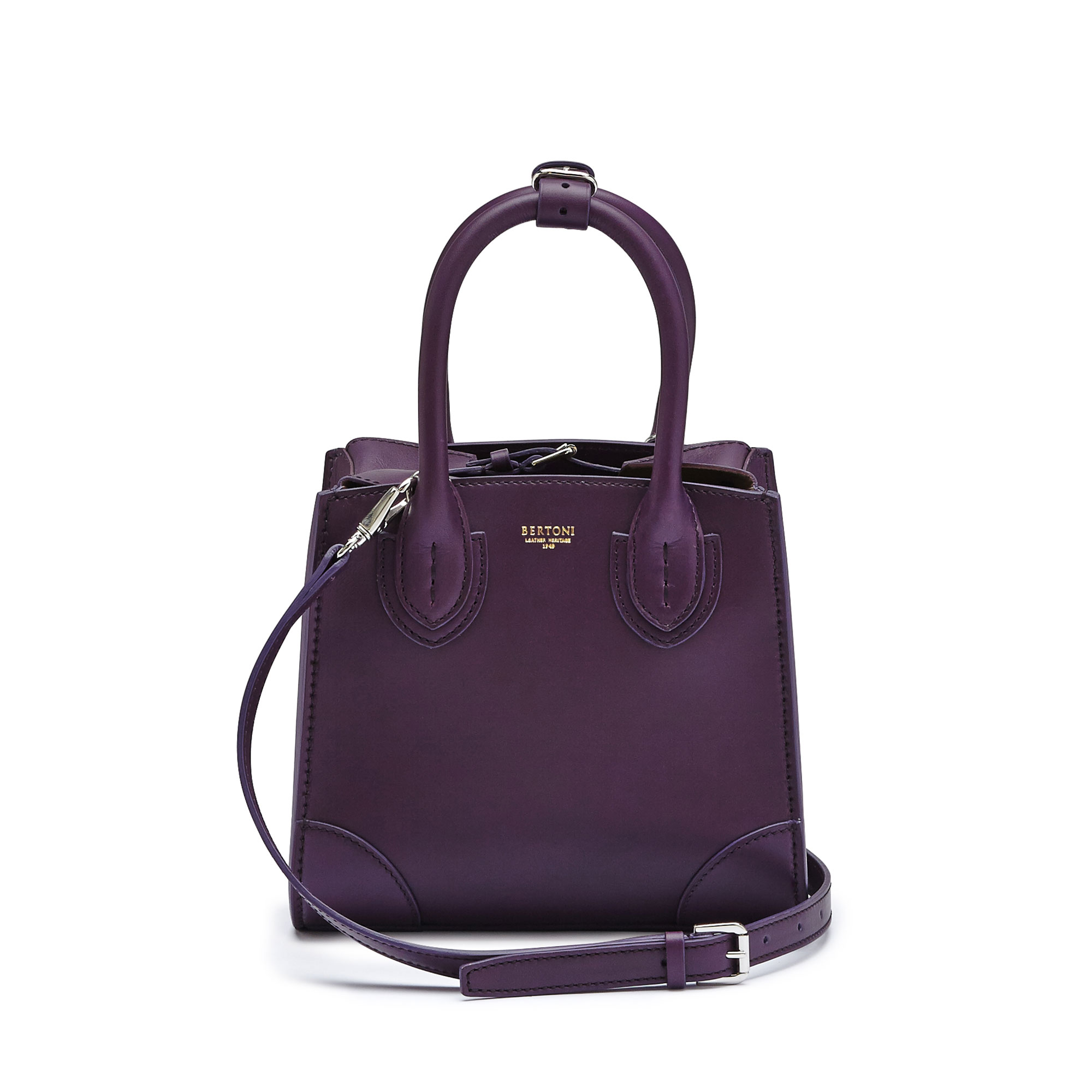 The aubergine color french calf Darcy small bag by Bertoni 1949 02