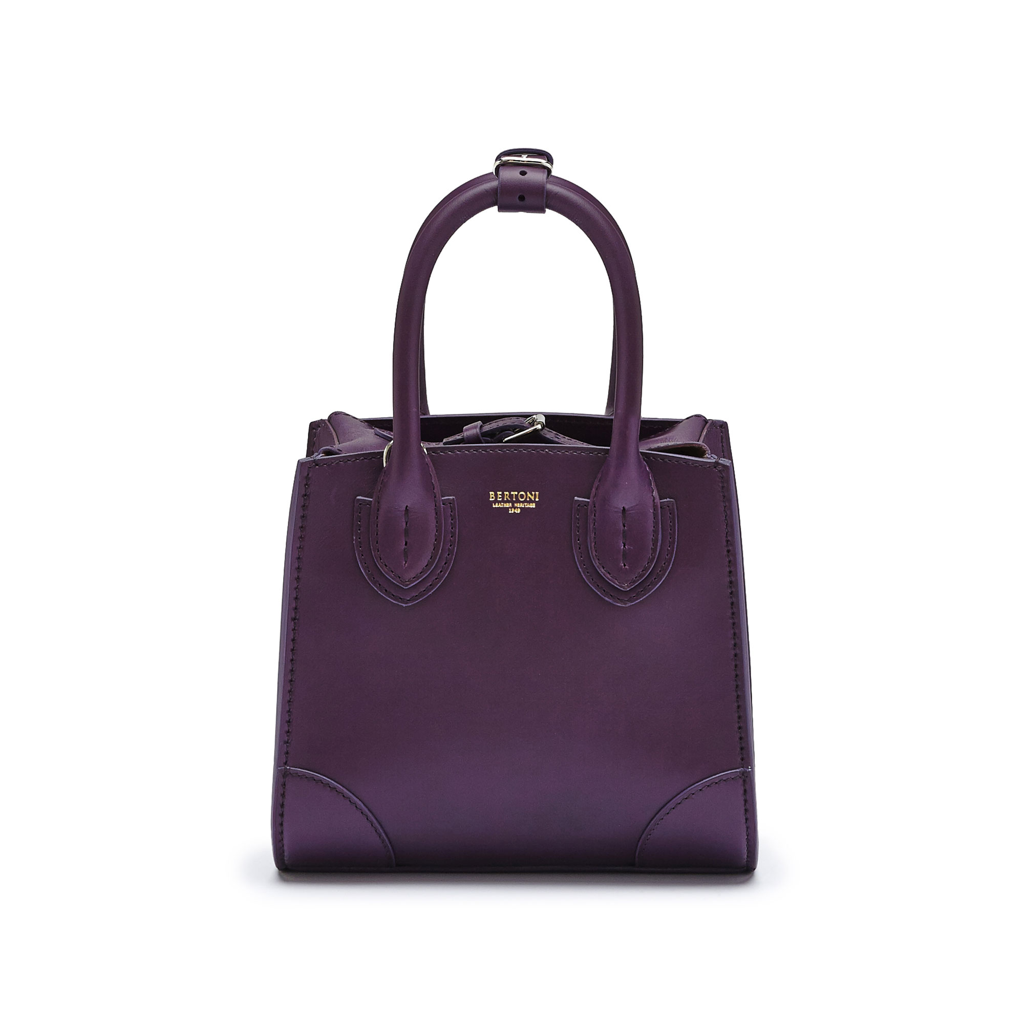The aubergine color french calf Darcy small bag by Bertoni 1949 01