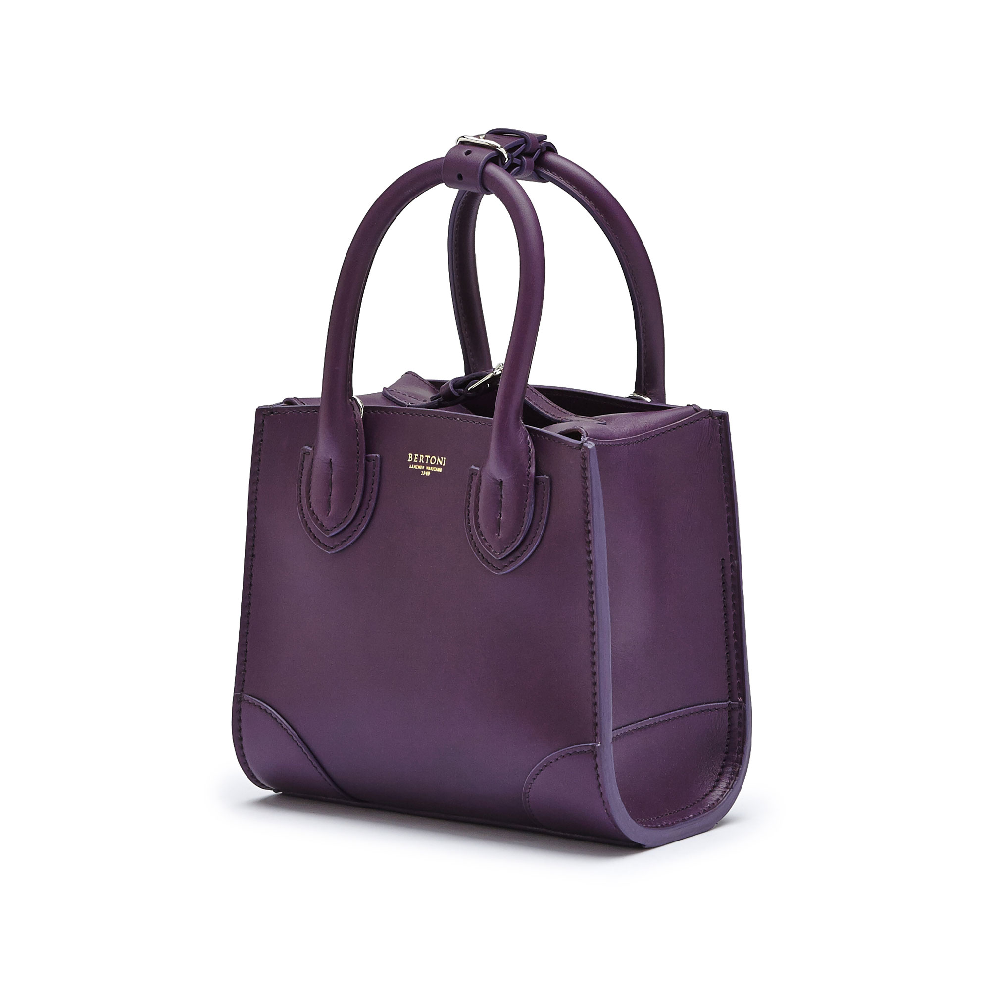 The aubergine color french calf Darcy small bag by Bertoni 1949 03