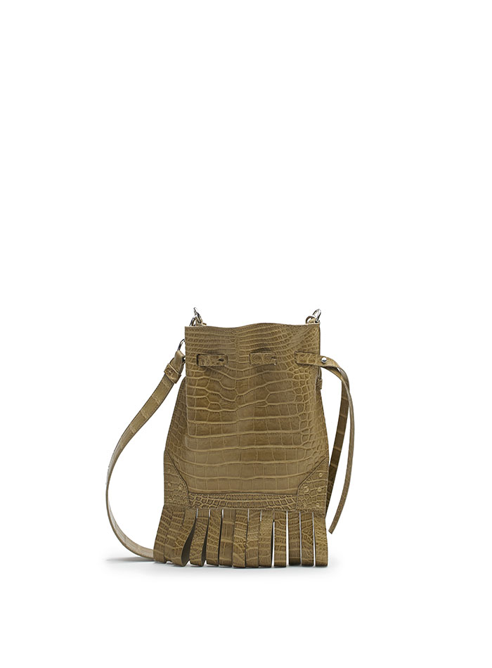 The Beige alligator Fanny Fringe bag by Bertoni 1949
