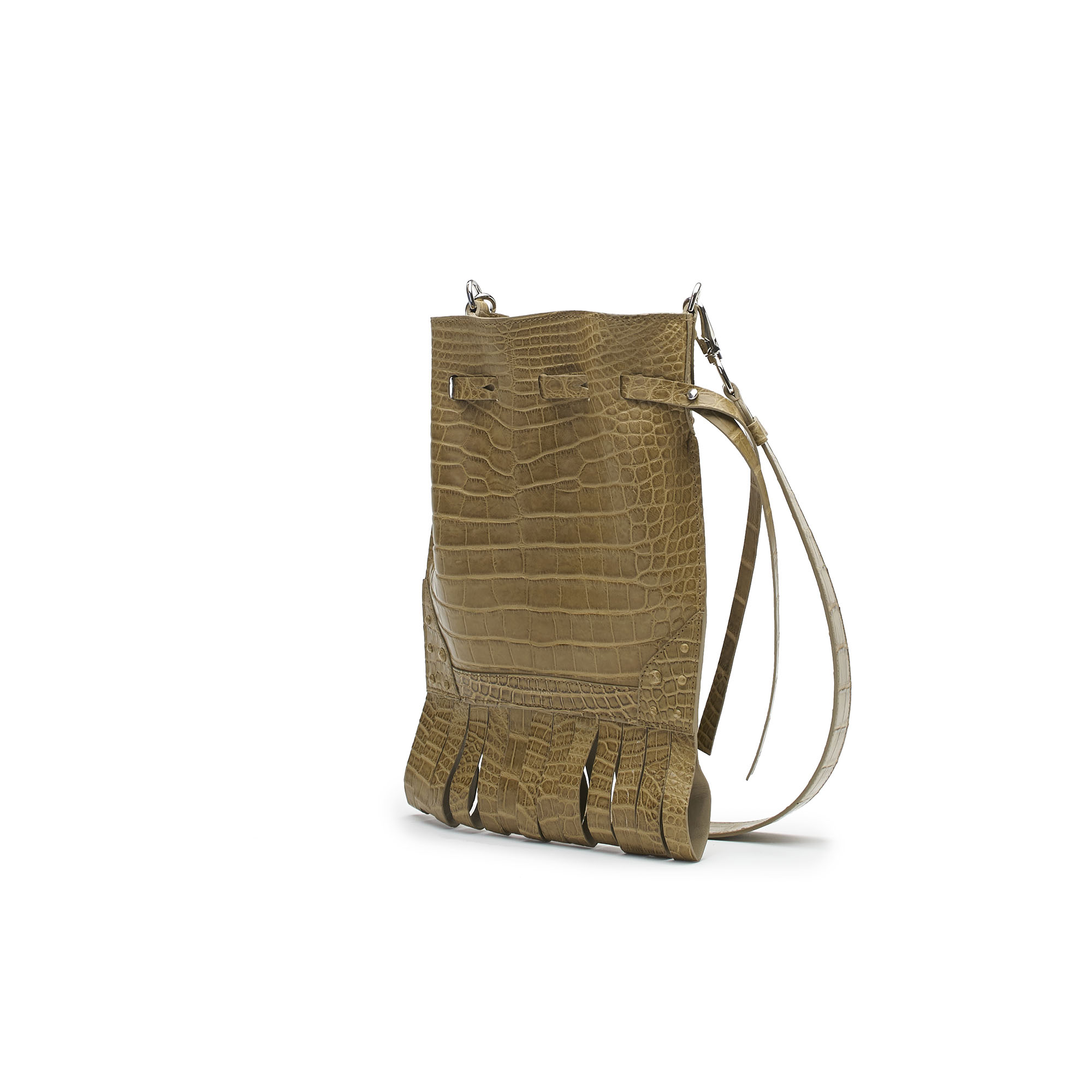 The Beige alligator Fanny Fringe bag by Bertoni 1949 02