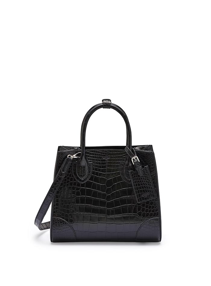The black alligator Darcy medium bag by Bertoni 1949