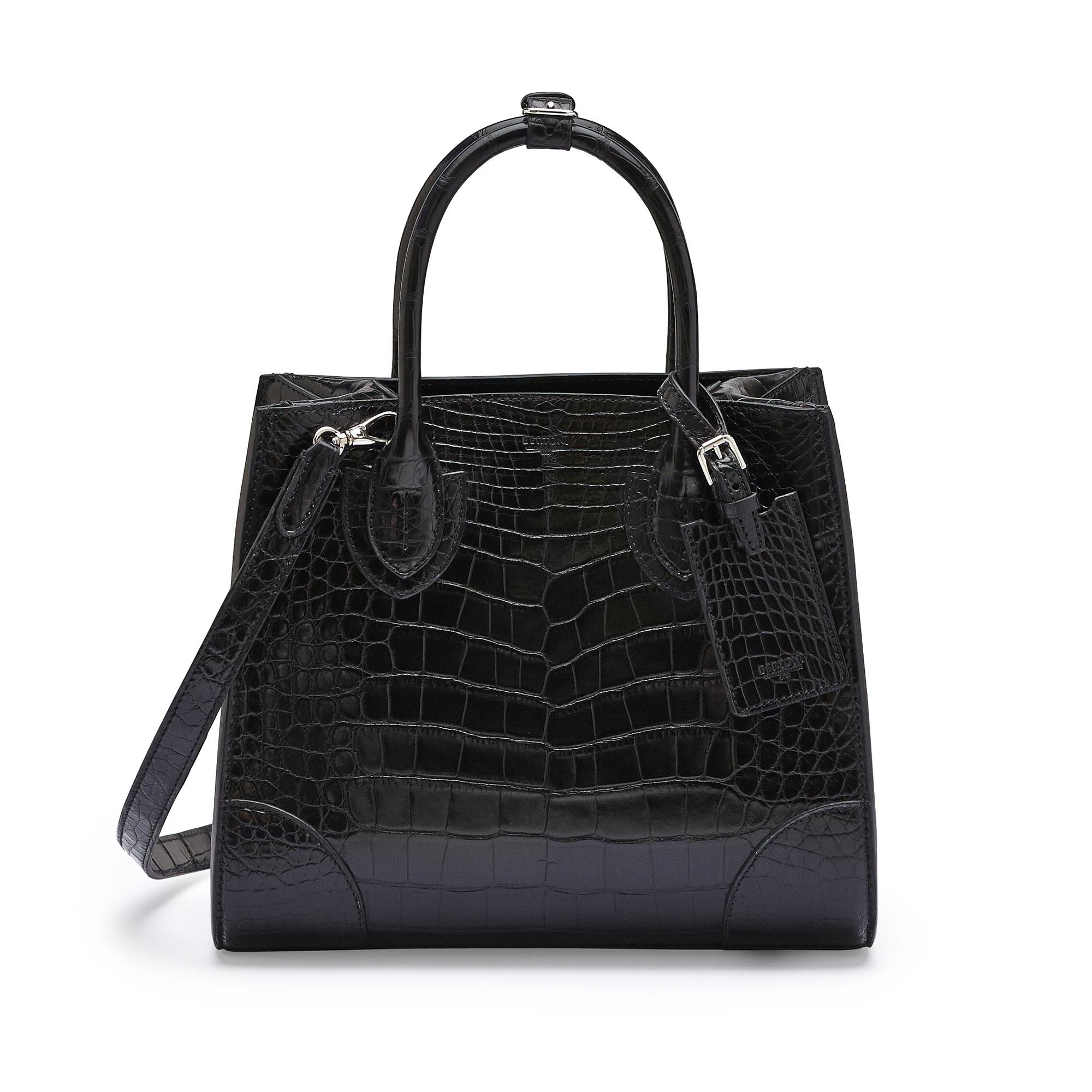 The black alligator Darcy medium bag by Bertoni 1949 01