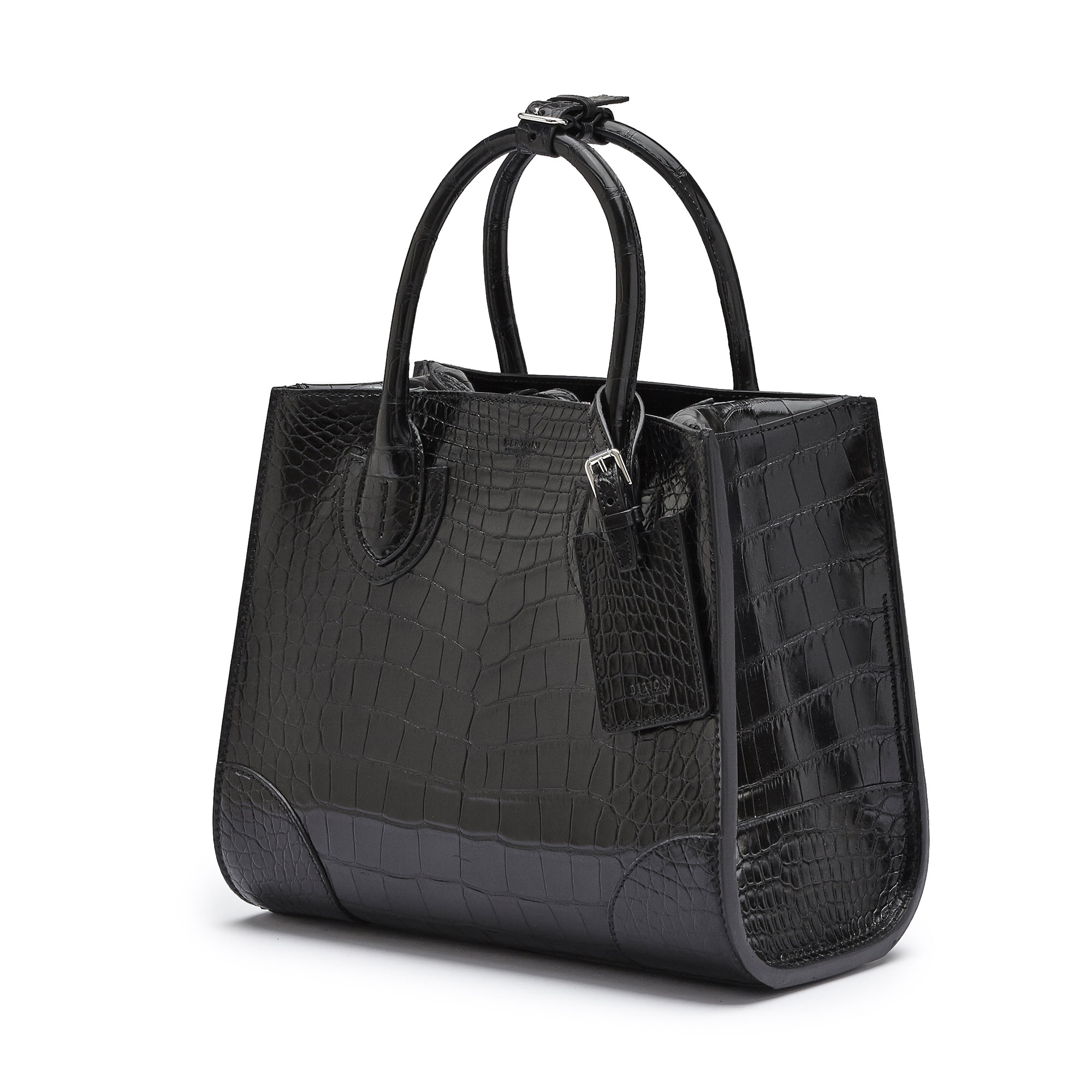 The black alligator Darcy medium bag by Bertoni 1949 03