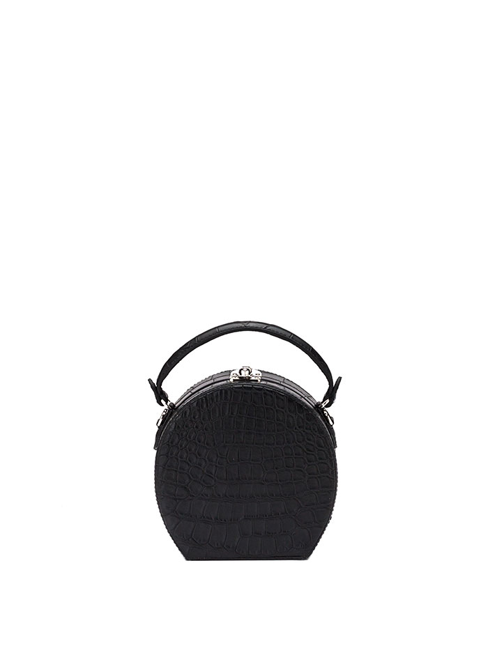 The black alligator Mini Bertoncina bag by Bertoni 1949