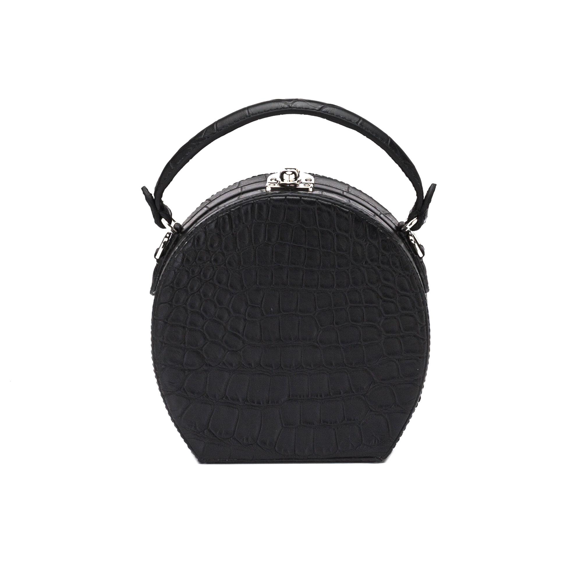 The black alligator Mini Bertoncina bag by Bertoni 1949 01