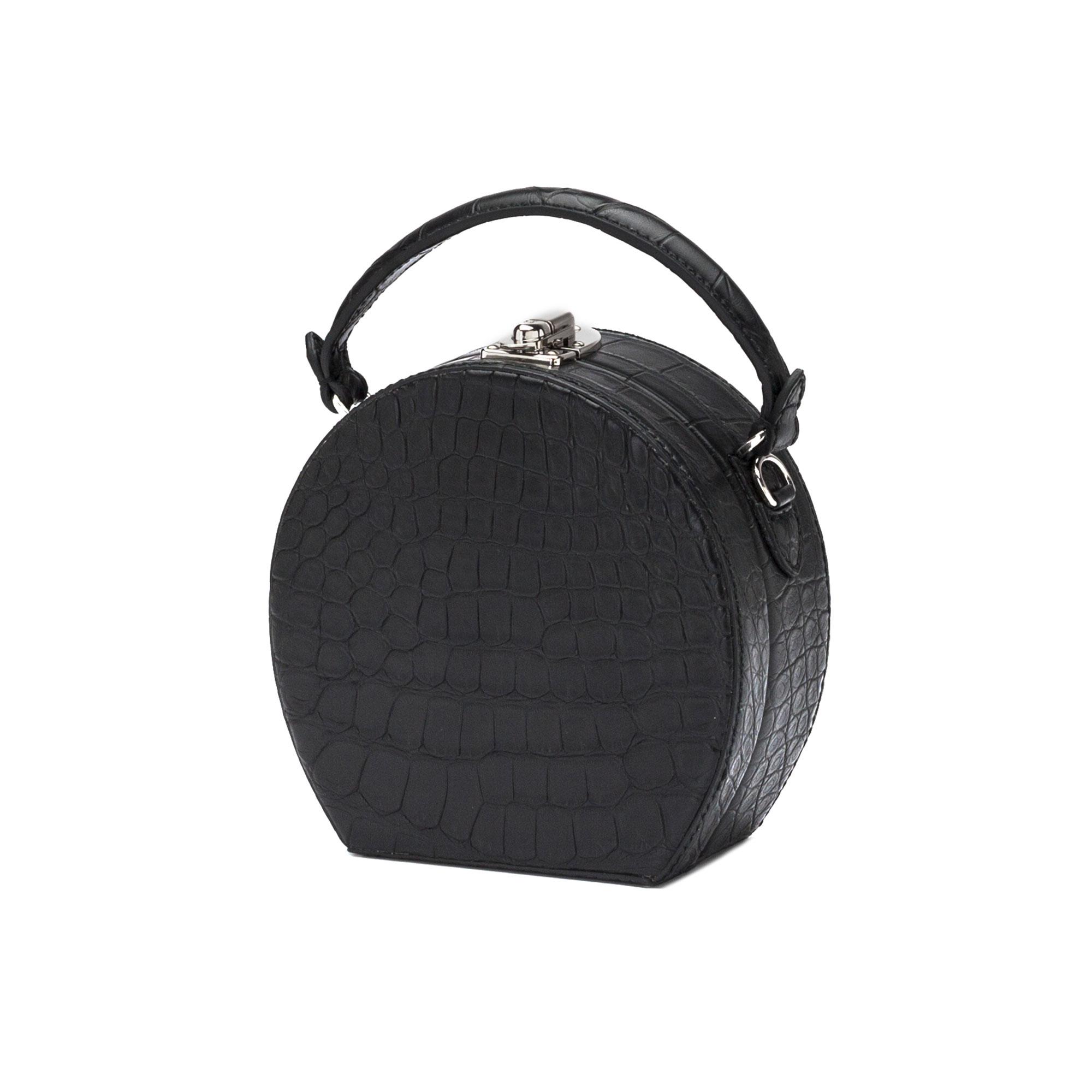 The black alligator Mini Bertoncina bag by Bertoni 1949 02