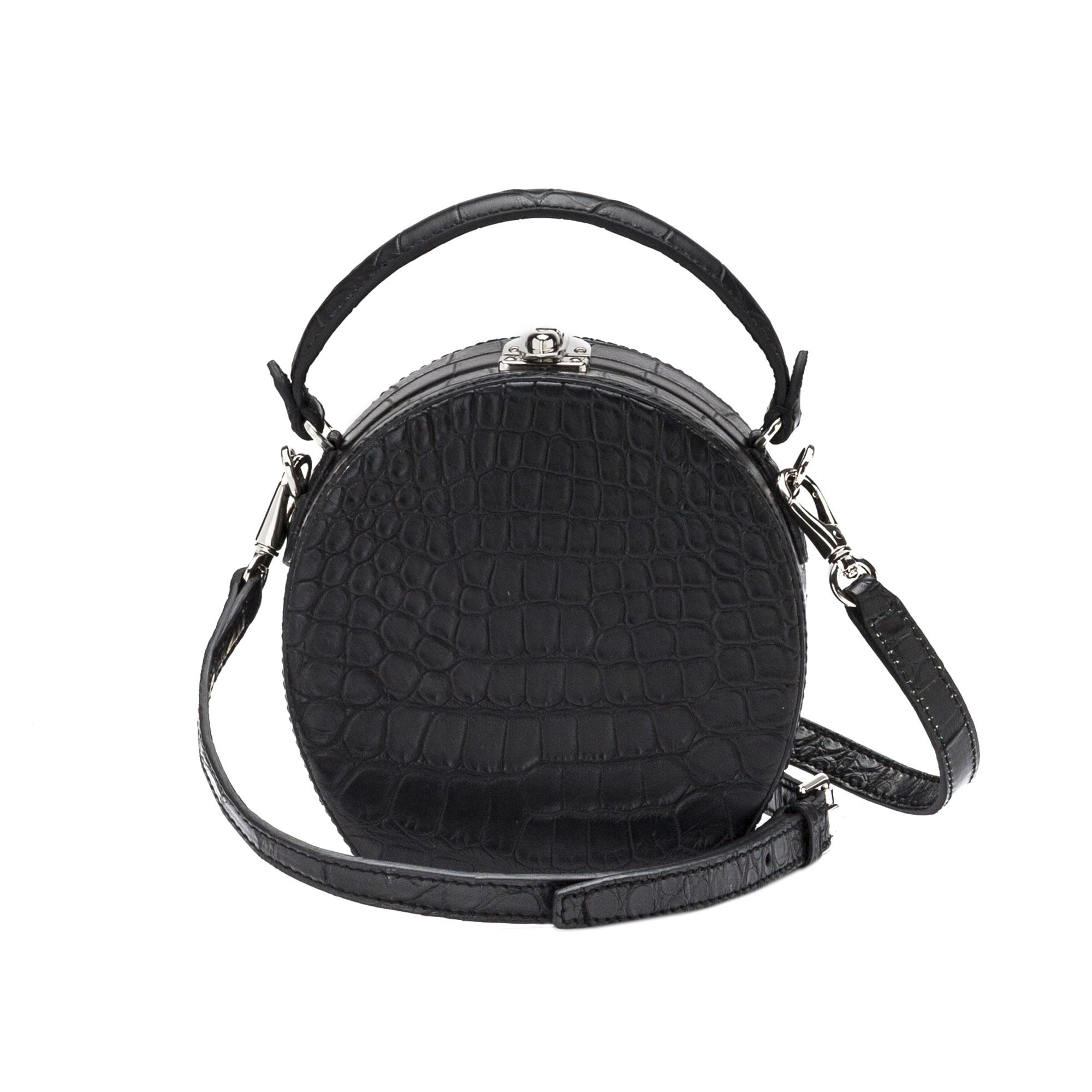 The black alligator Mini Bertoncina bag by Bertoni 1949 03