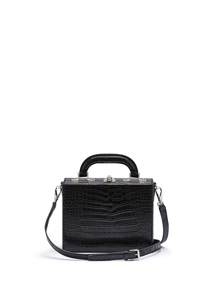 The black alligator Mini Squared Bertoncina bag by Bertoni 1949