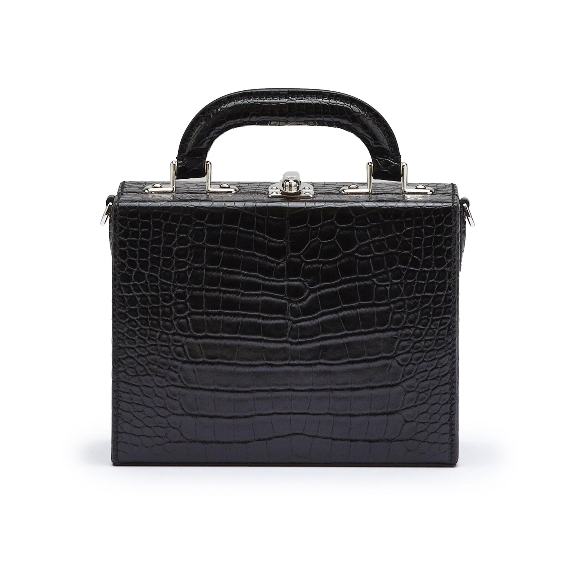 The black alligator Mini Squared Bertoncina bag by Bertoni 1949 01