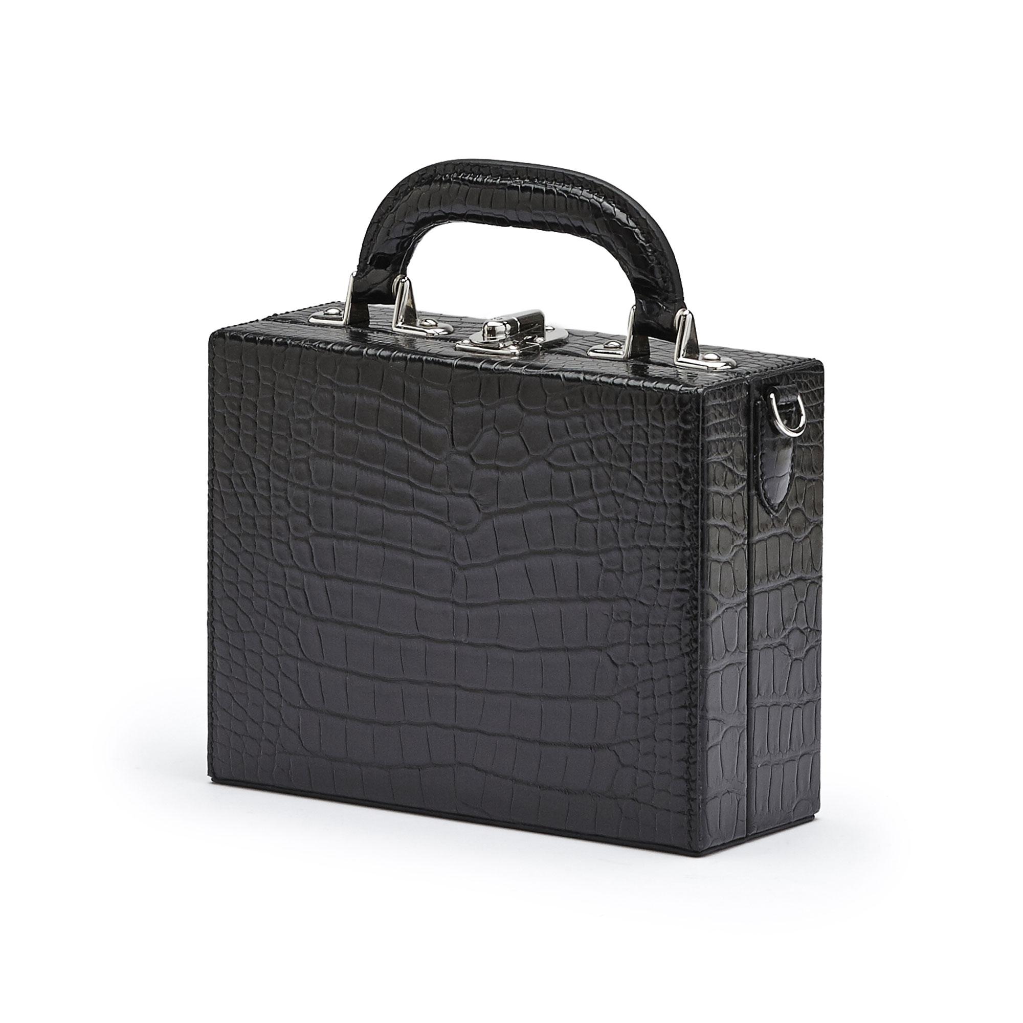 The black alligator Mini Squared Bertoncina bag by Bertoni 1949 02