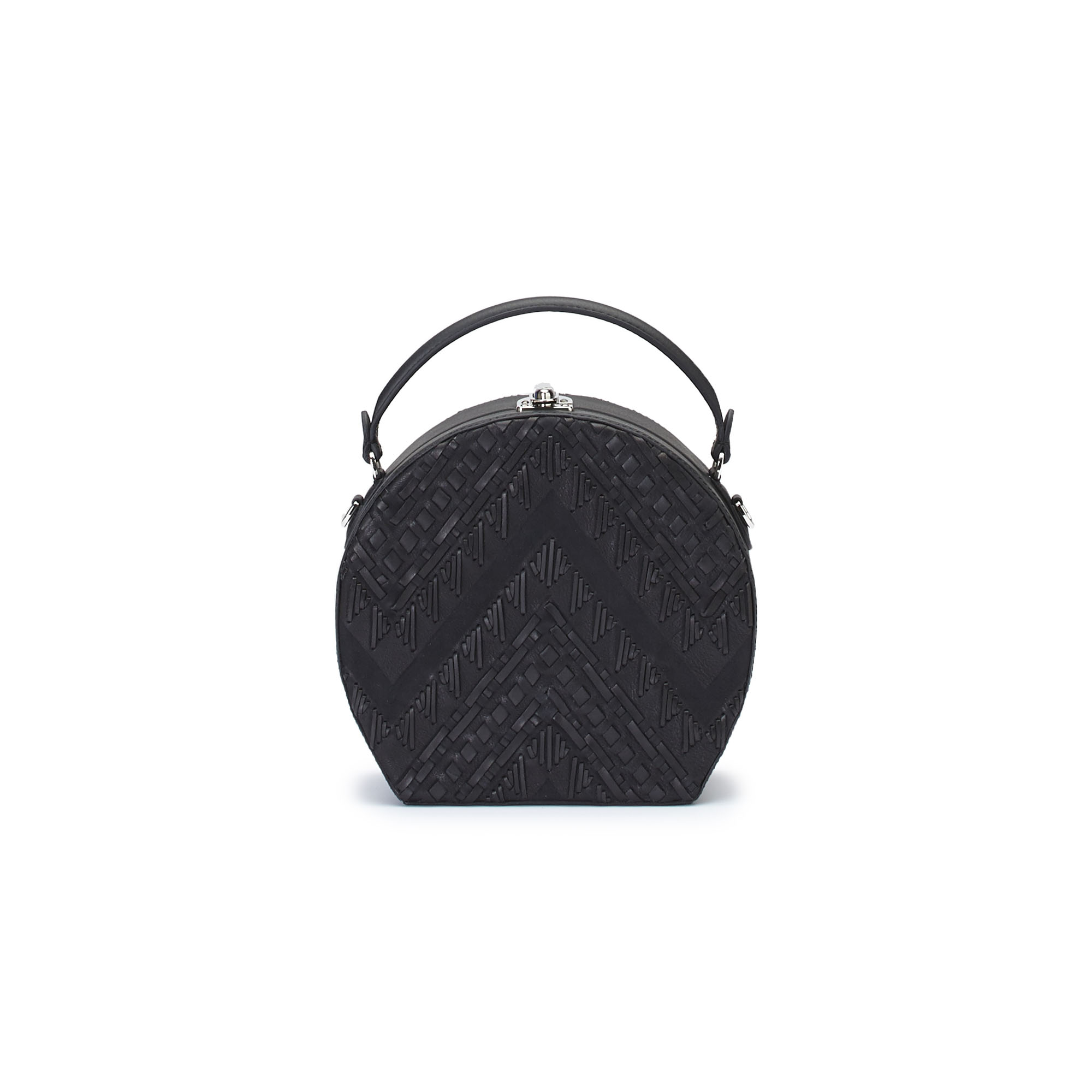 The black braided soft calf Regular Bertoncina bag by Bertoni 1949 01