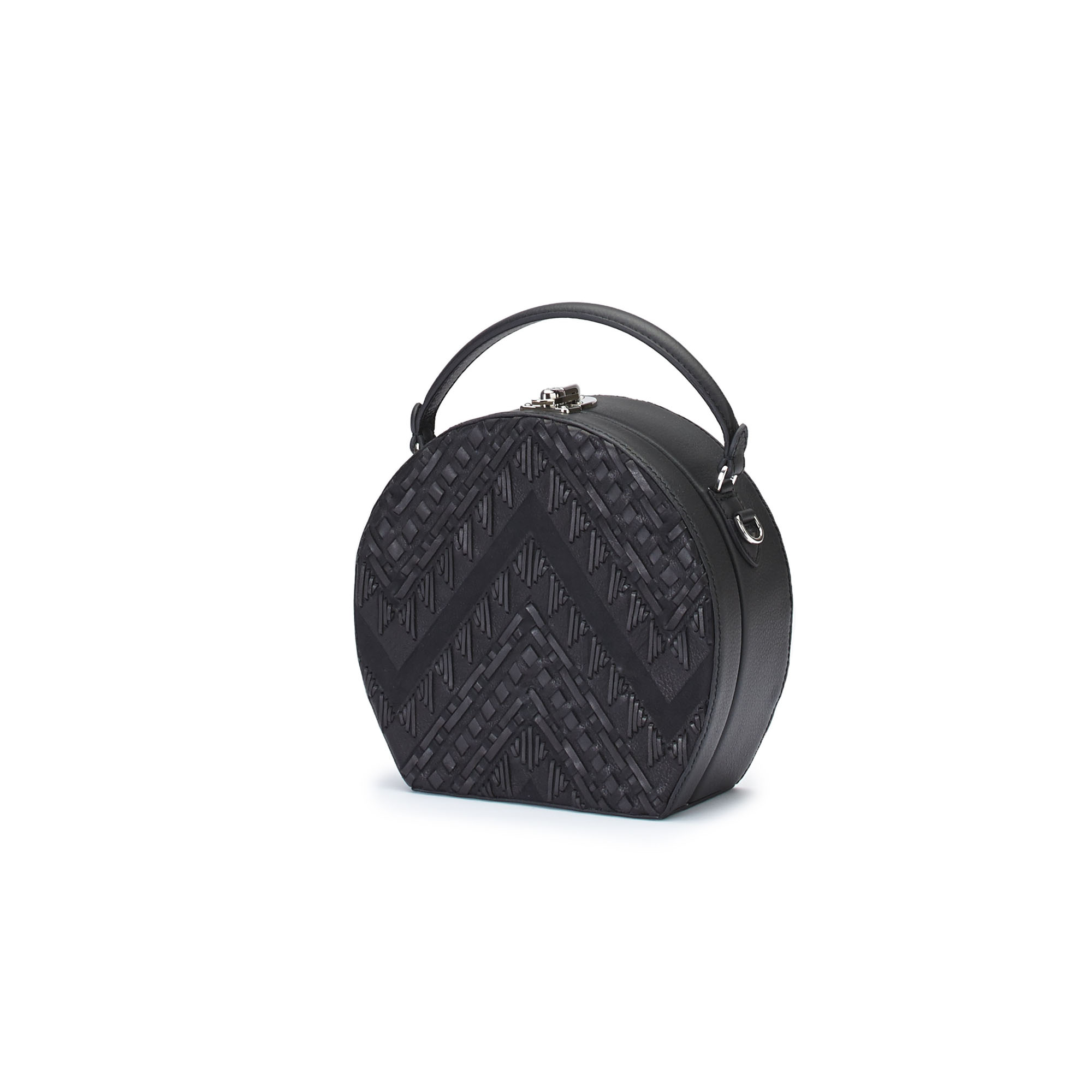 The black braided soft calf Regular Bertoncina bag by Bertoni 1949 02