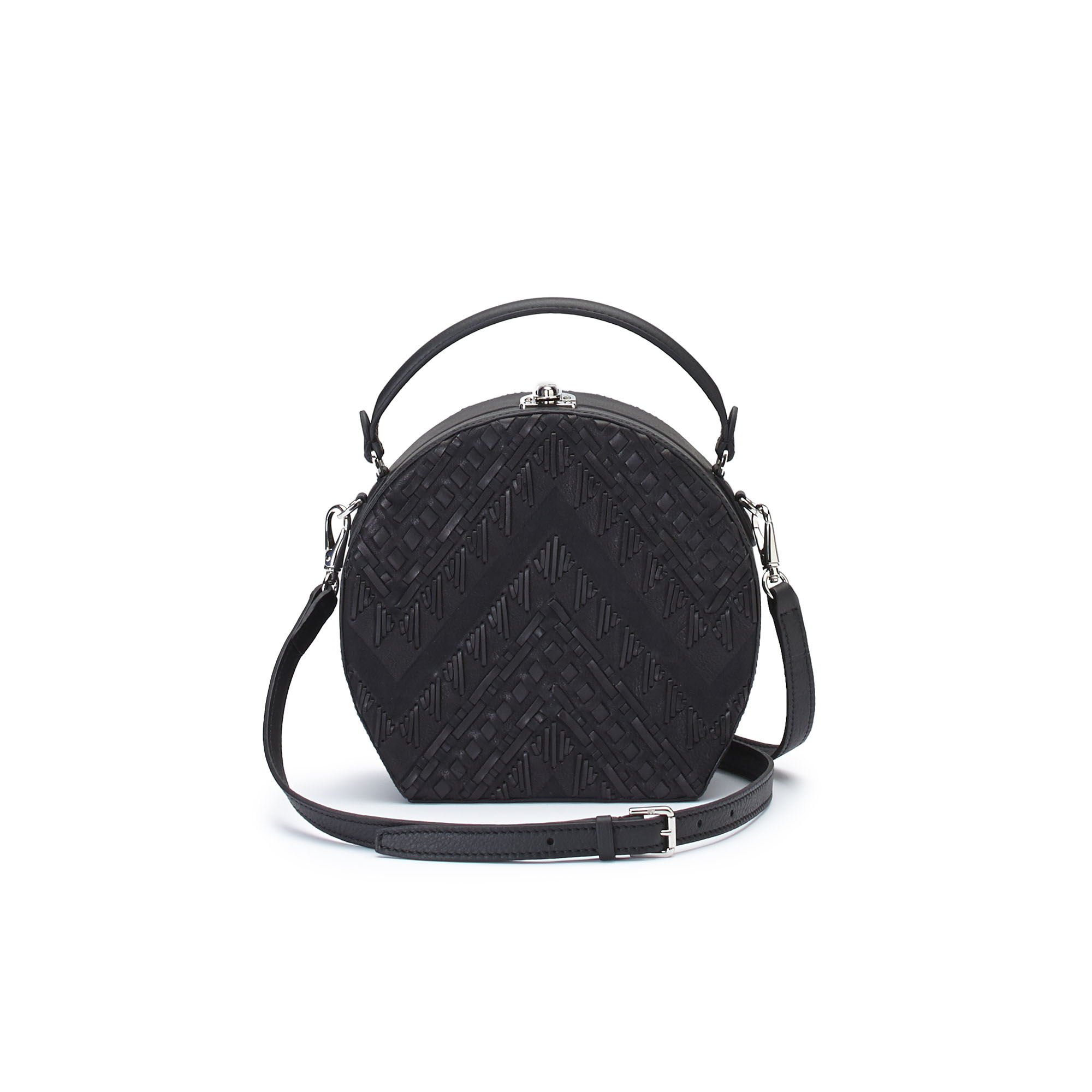 The black braided soft calf Regular Bertoncina bag by Bertoni 1949 03