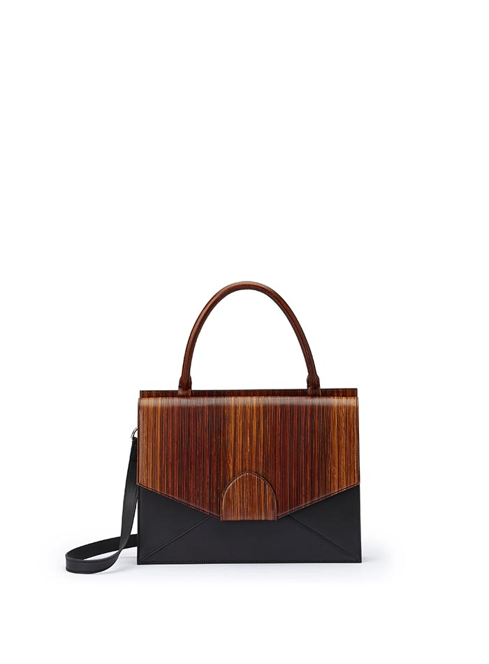 The black and brown wood leather, french calf Dafne bag by Bertoni 1949
