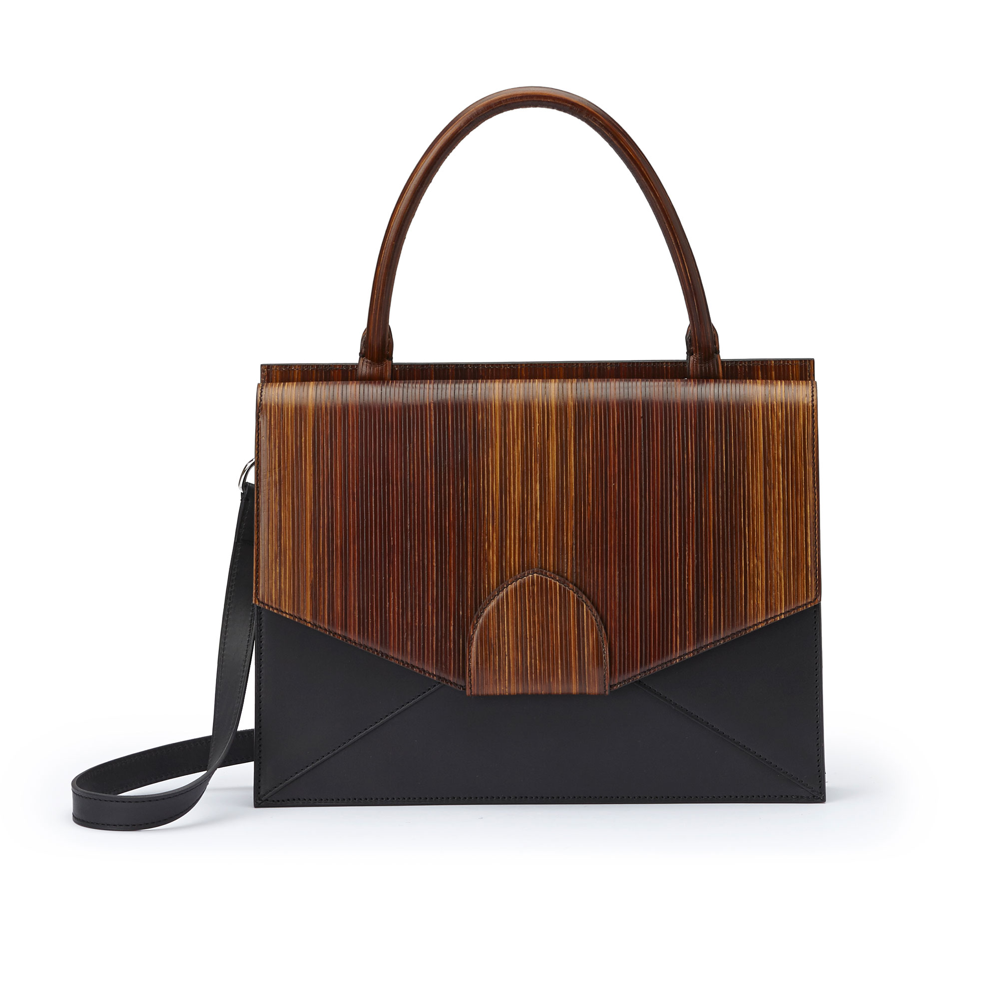 The black and brown wood leather, french calf Dafne bag by Bertoni 1949 01