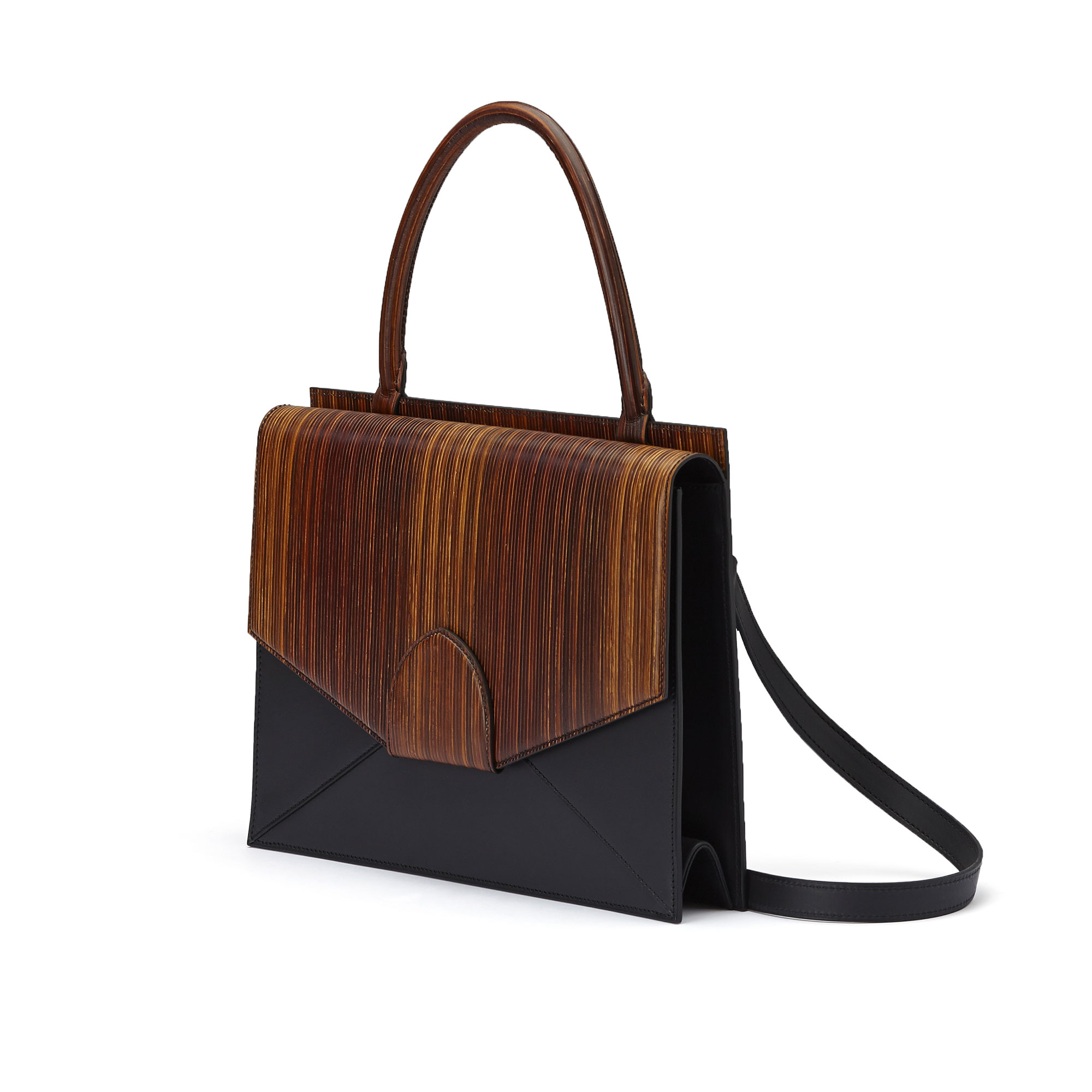 The black and brown wood leather, french calf Dafne bag by Bertoni 1949 02