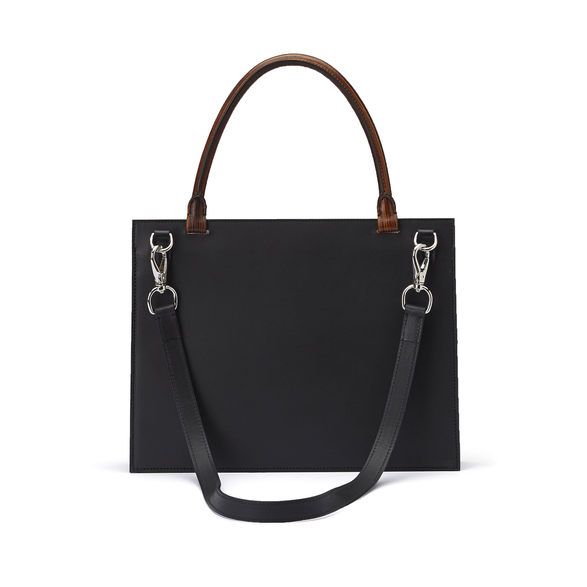 The black and brown wood leather, french calf Dafne bag by Bertoni 1949 03