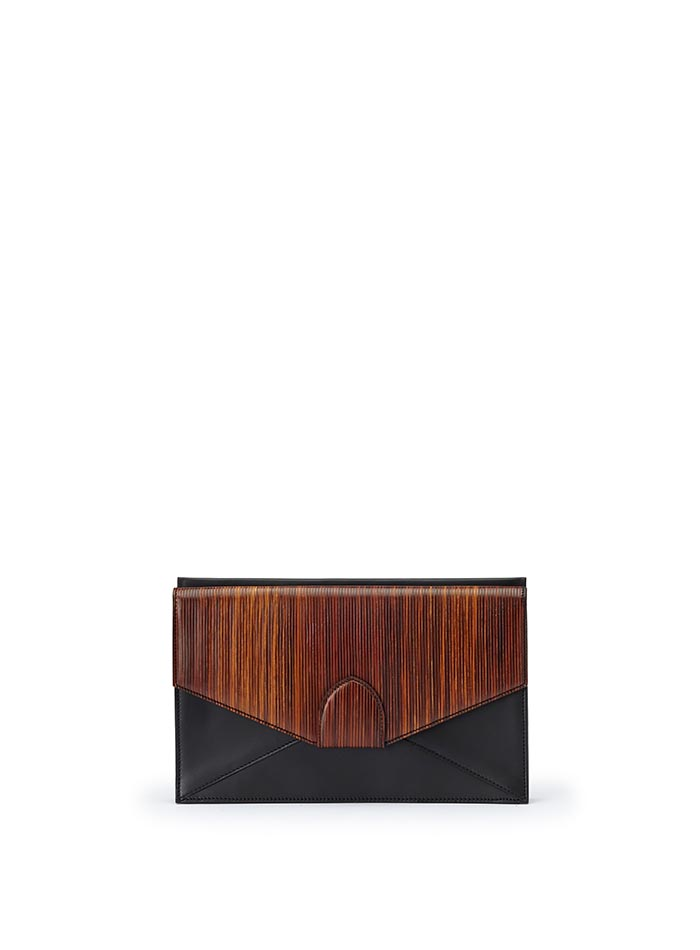 The black and brown wood leather, french calf Dafne Clutch bag by Bertoni 1949