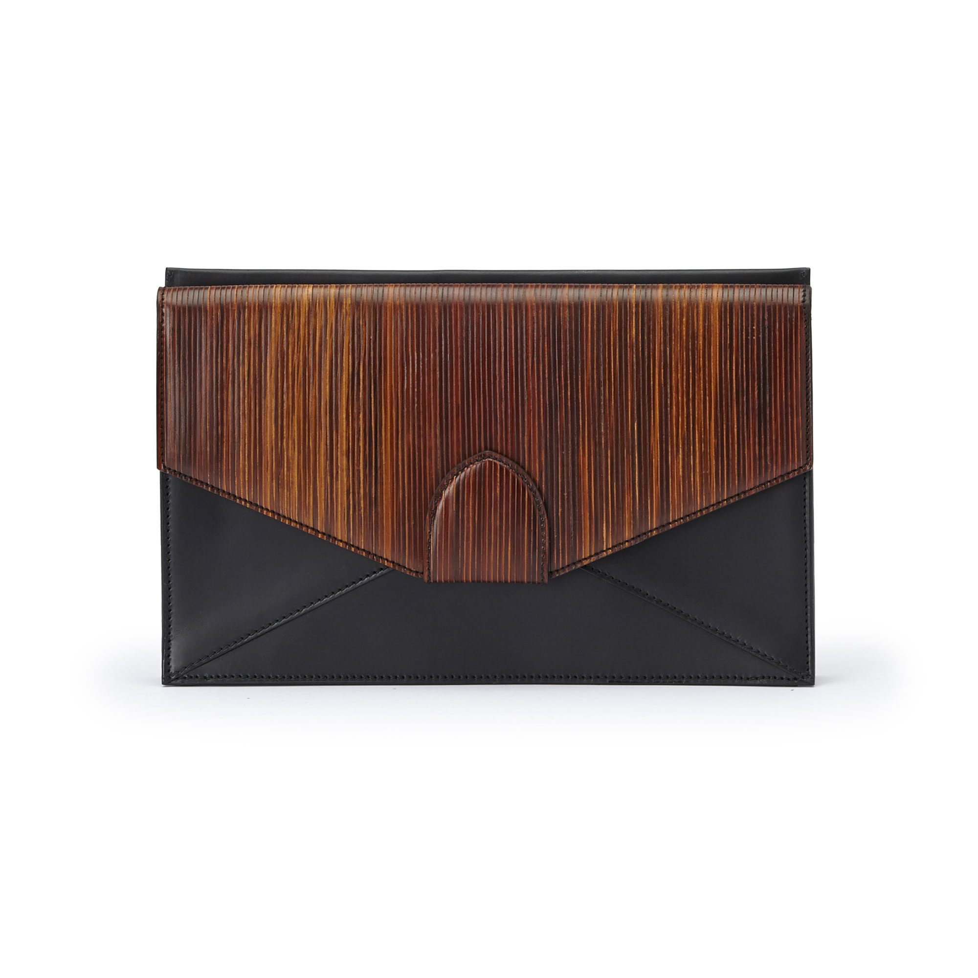The black and brown wood leather, french calf Dafne Clutch bag by Bertoni 1949 01