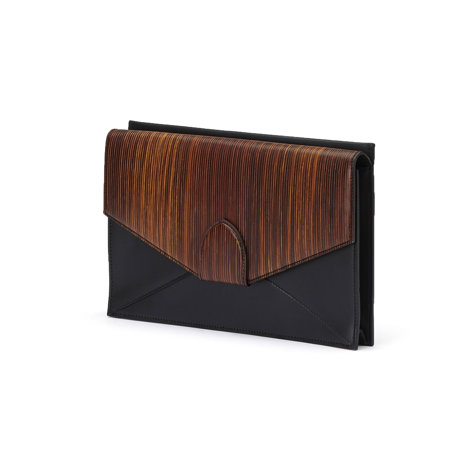 The black and brown wood leather, french calf Dafne Clutch bag by Bertoni 1949 02