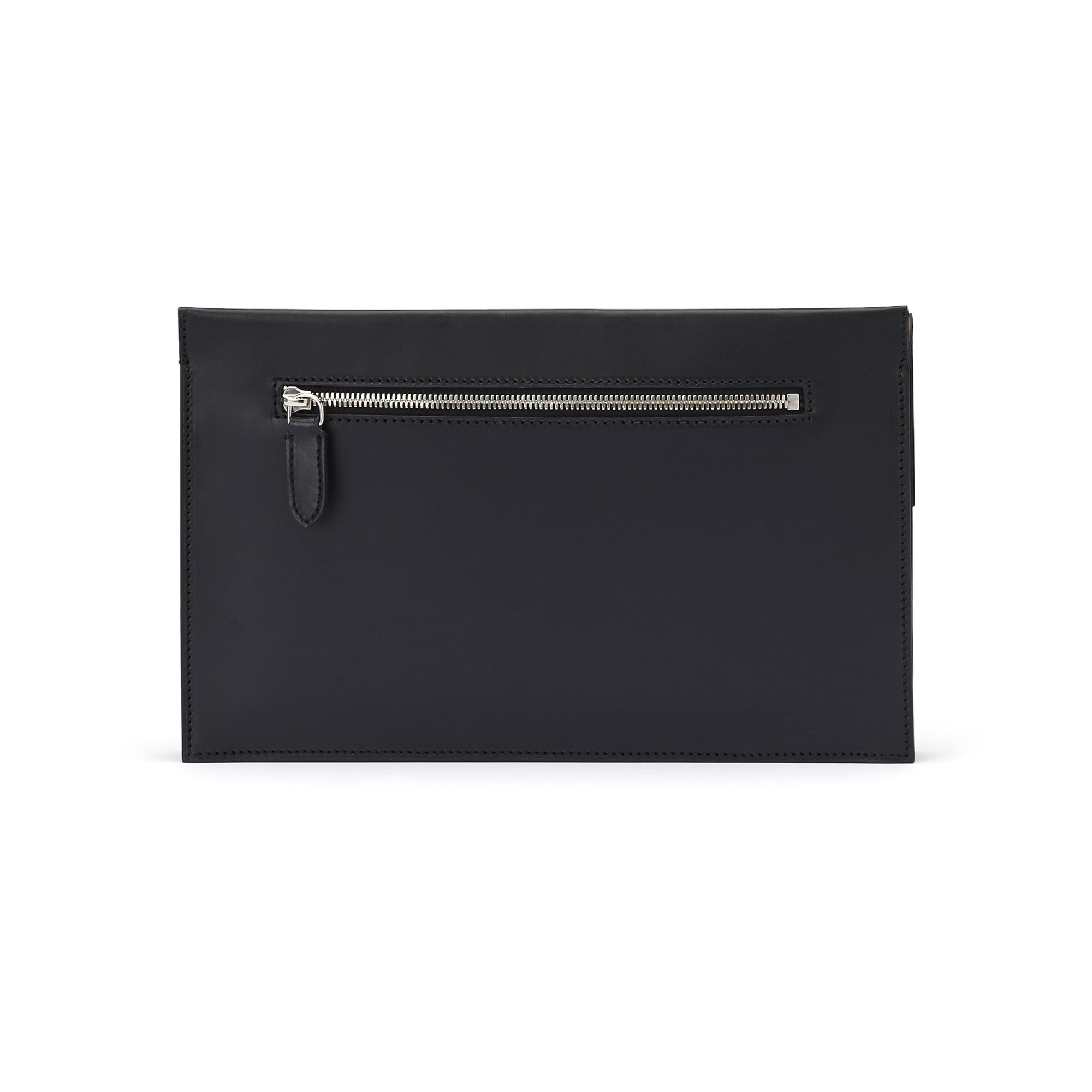 The black and brown wood leather, french calf Dafne Clutch bag by Bertoni 1949 03