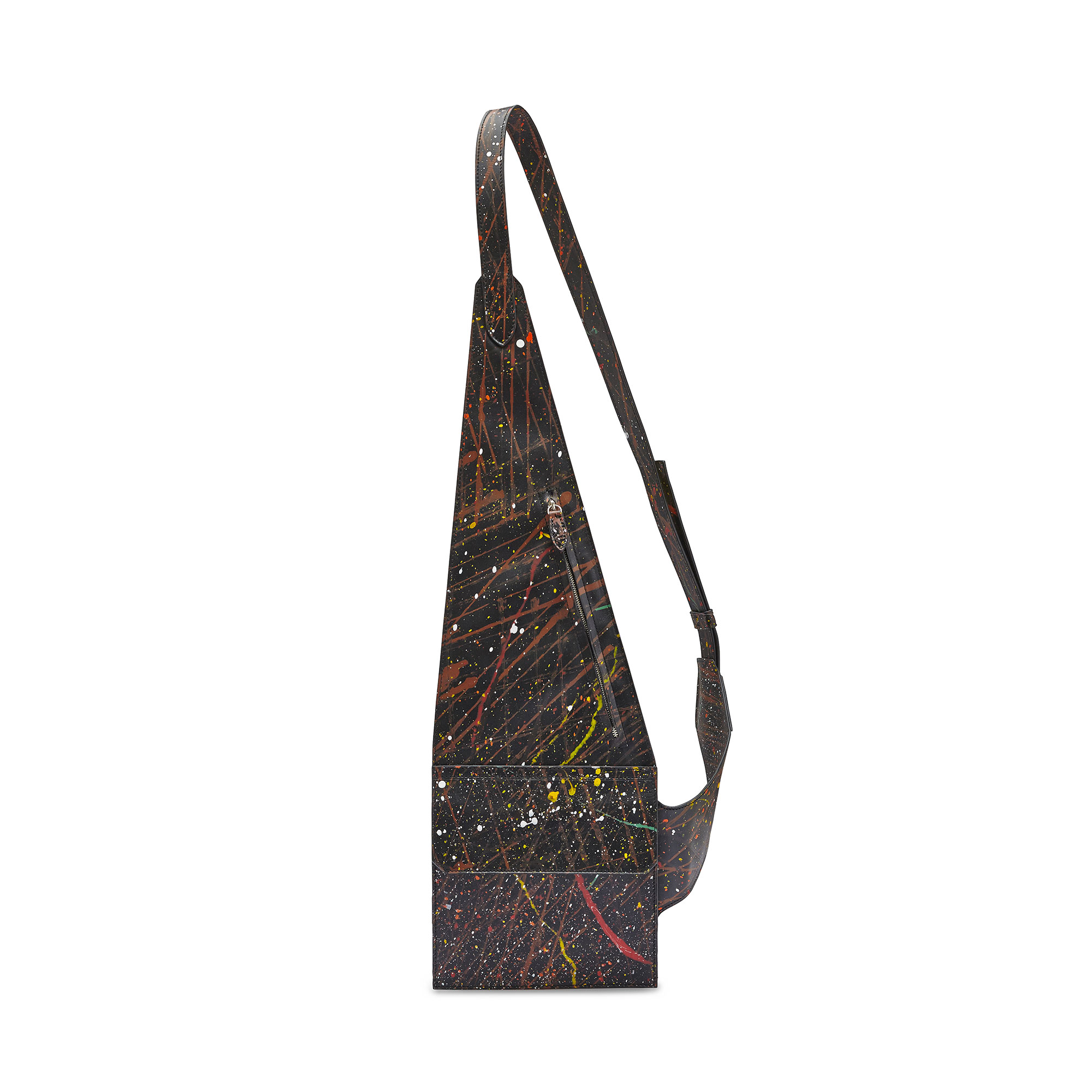 The black with edgy art french calf Crossbody Vest by Bertoni 1949 01