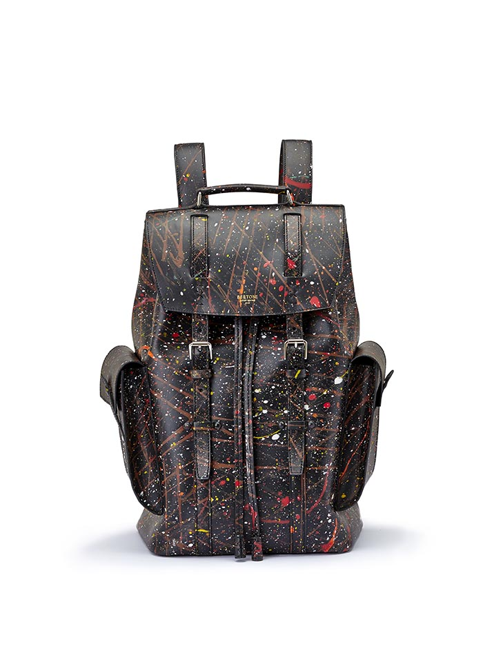 The black with edgy art french calf Traveller Backpack by Bertoni 1949