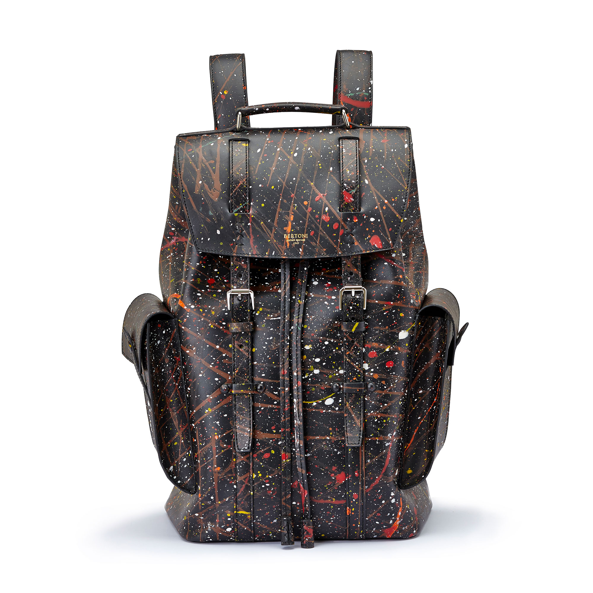 The black with edgy art french calf Traveller Backpack by Bertoni 1949 01