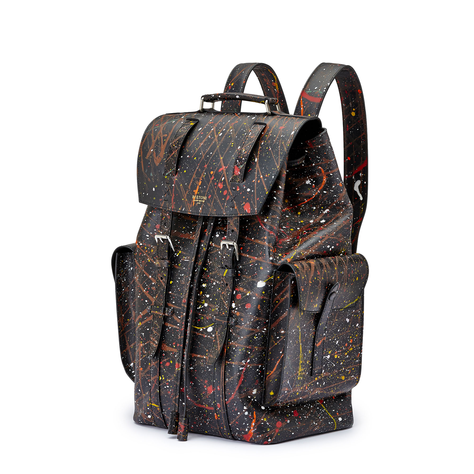 The black with edgy art french calf Traveller Backpack by Bertoni 1949 02