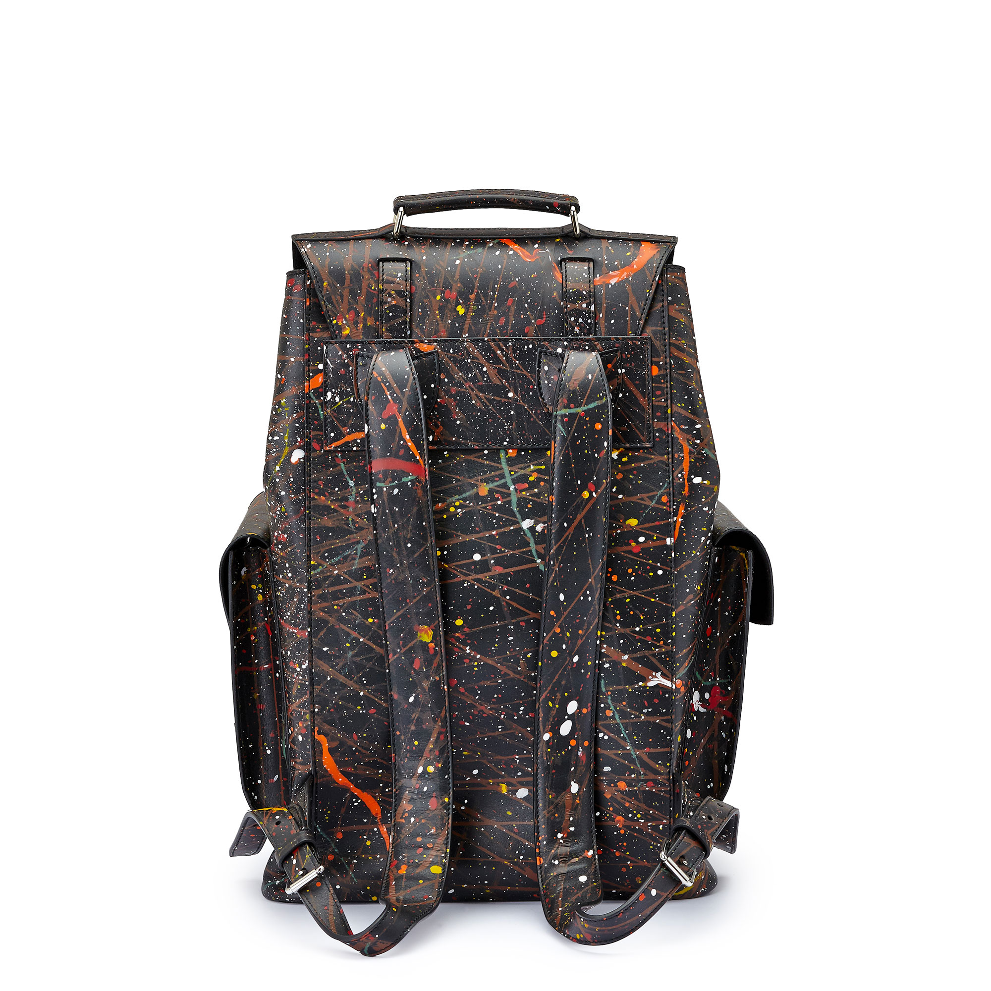 The black with edgy art french calf Traveller Backpack by Bertoni 1949 03