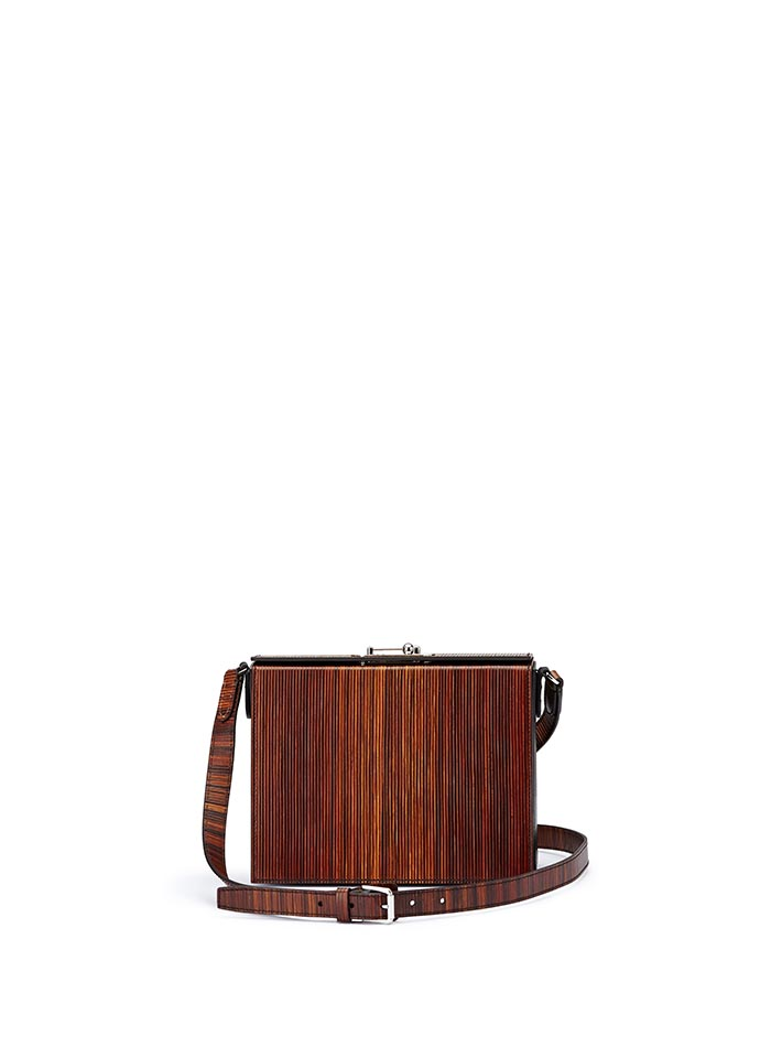 The black effect wood leather french calf Gemma Crossbody bag by Bertoni 1949