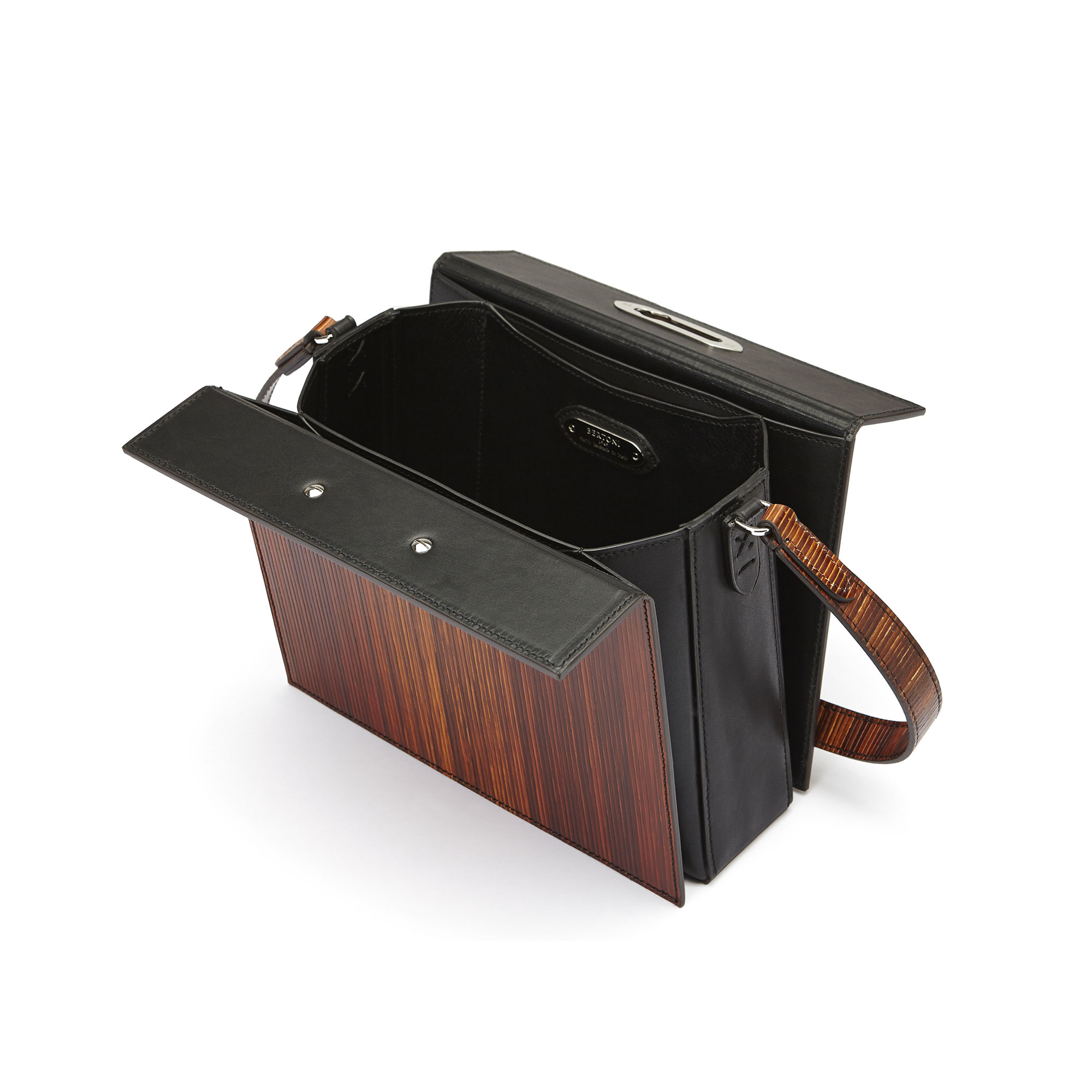 The black effect wood leather french calf Gemma Crossbody bag by Bertoni 1949 03