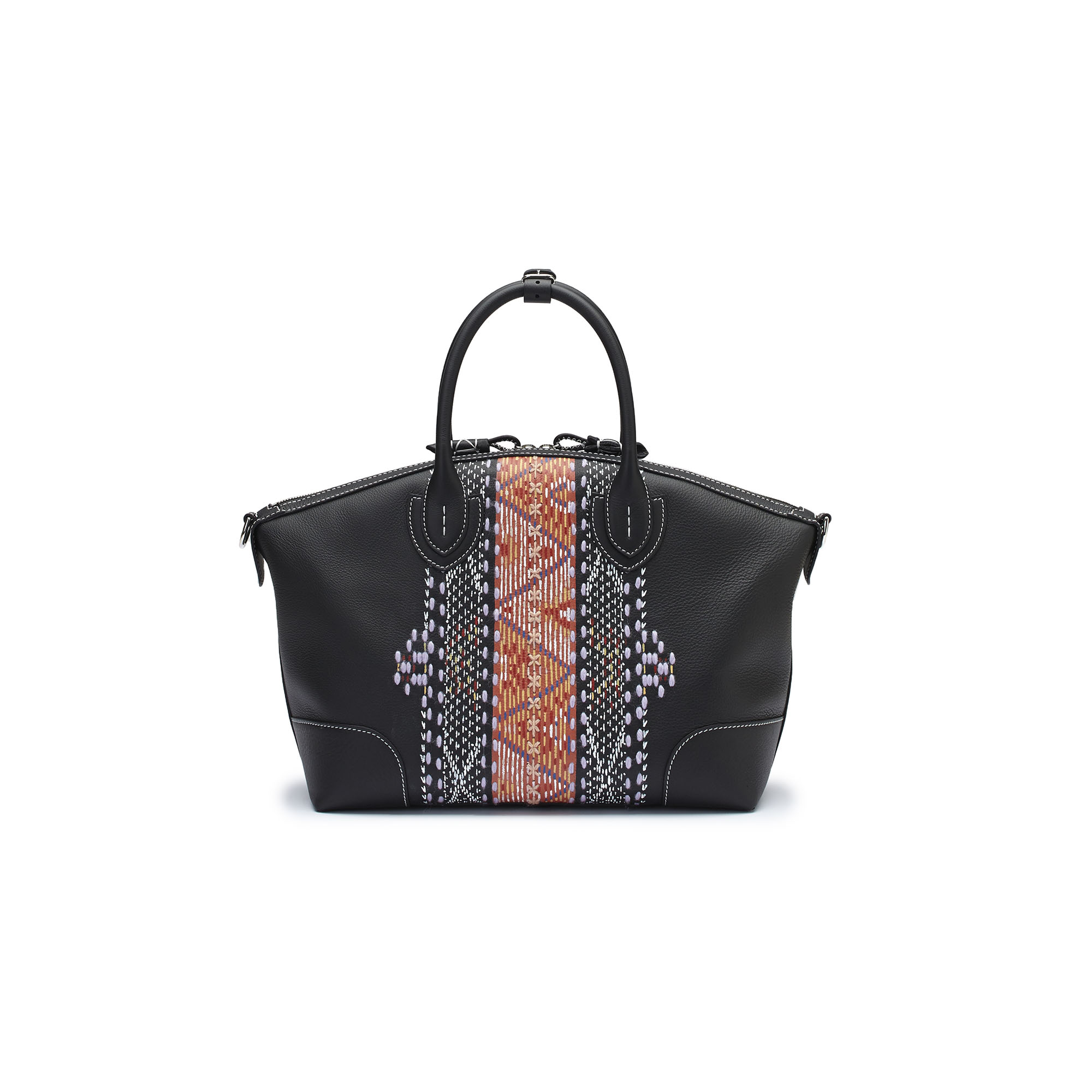 The black embroidered hand painted soft calf Anija bag by Bertoni 1949 01