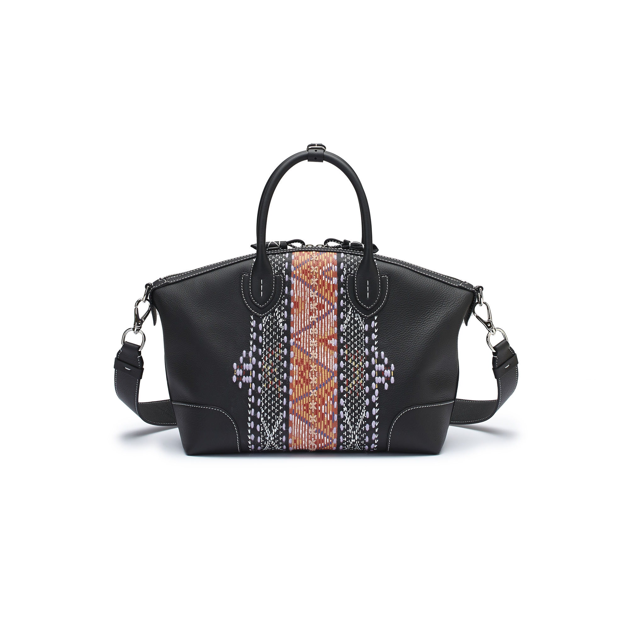 The black embroidered hand painted soft calf Anija bag by Bertoni 1949 03