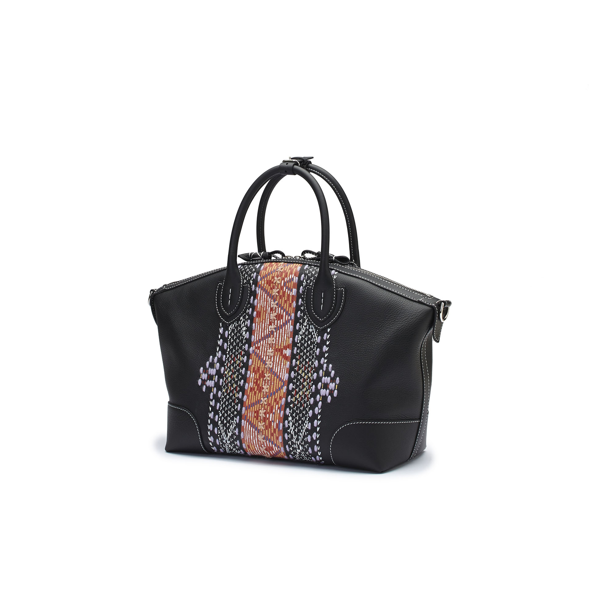 The black embroidered hand painted soft calf Anija bag by Bertoni 1949 02