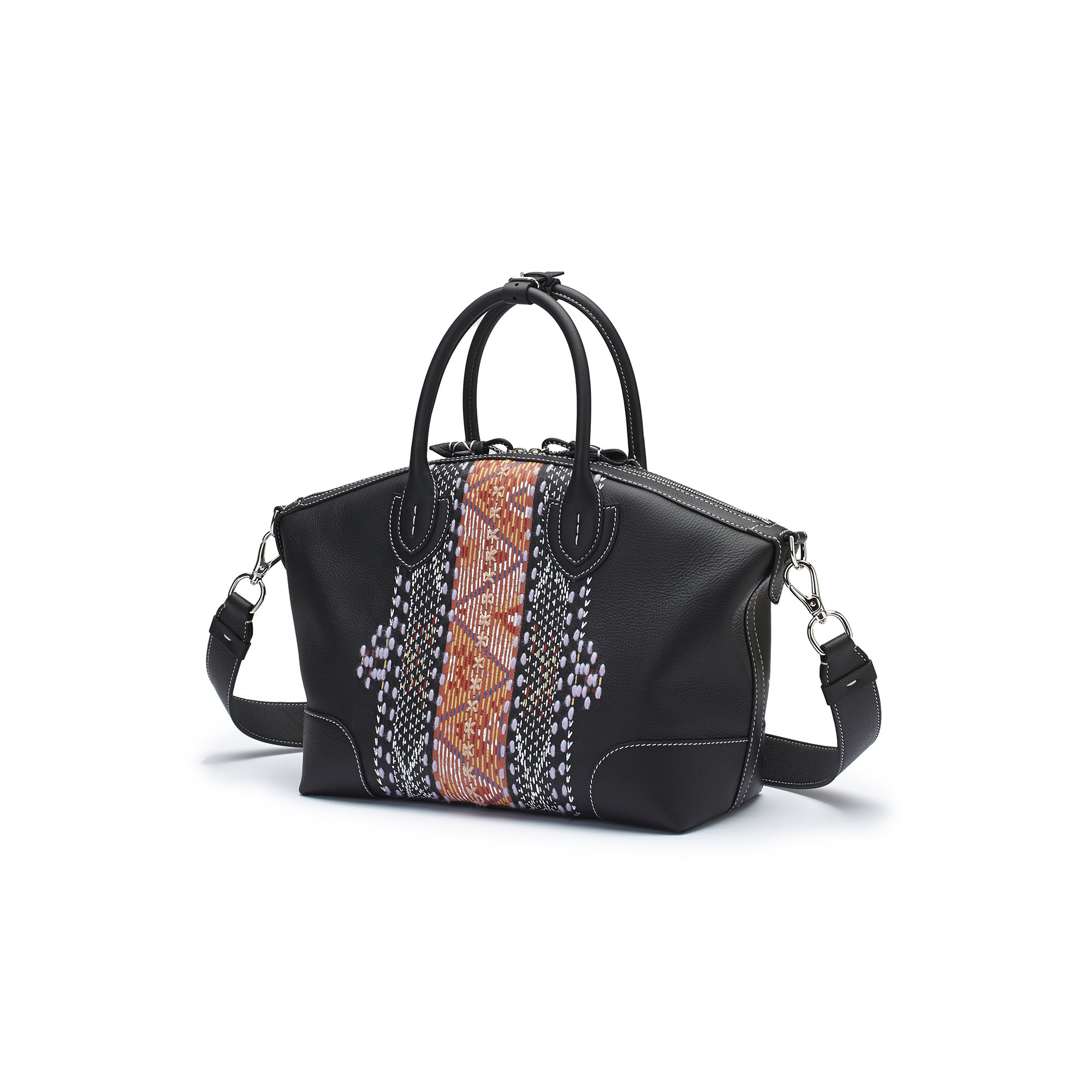 The black embroidered hand painted soft calf Anija bag by Bertoni 1949 04