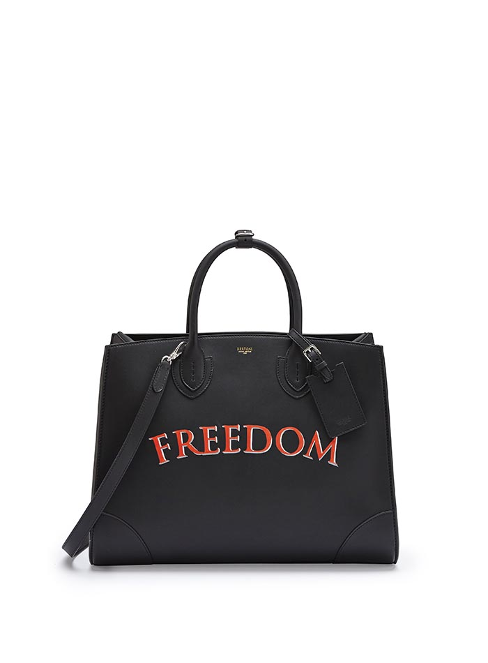 The black with write freedom french calf Maxi Darcy bag by Bertoni 1949