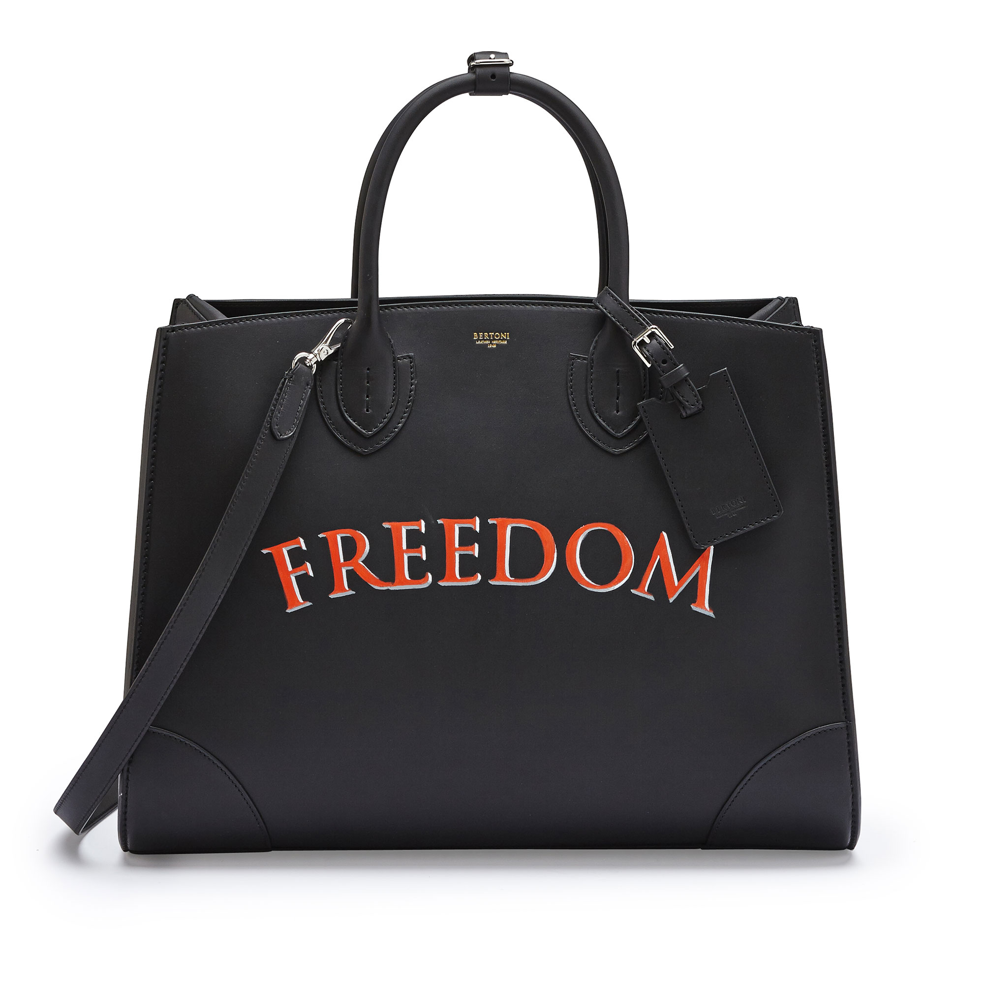 The black with write freedom french calf Maxi Darcy bag by Bertoni 1949 01