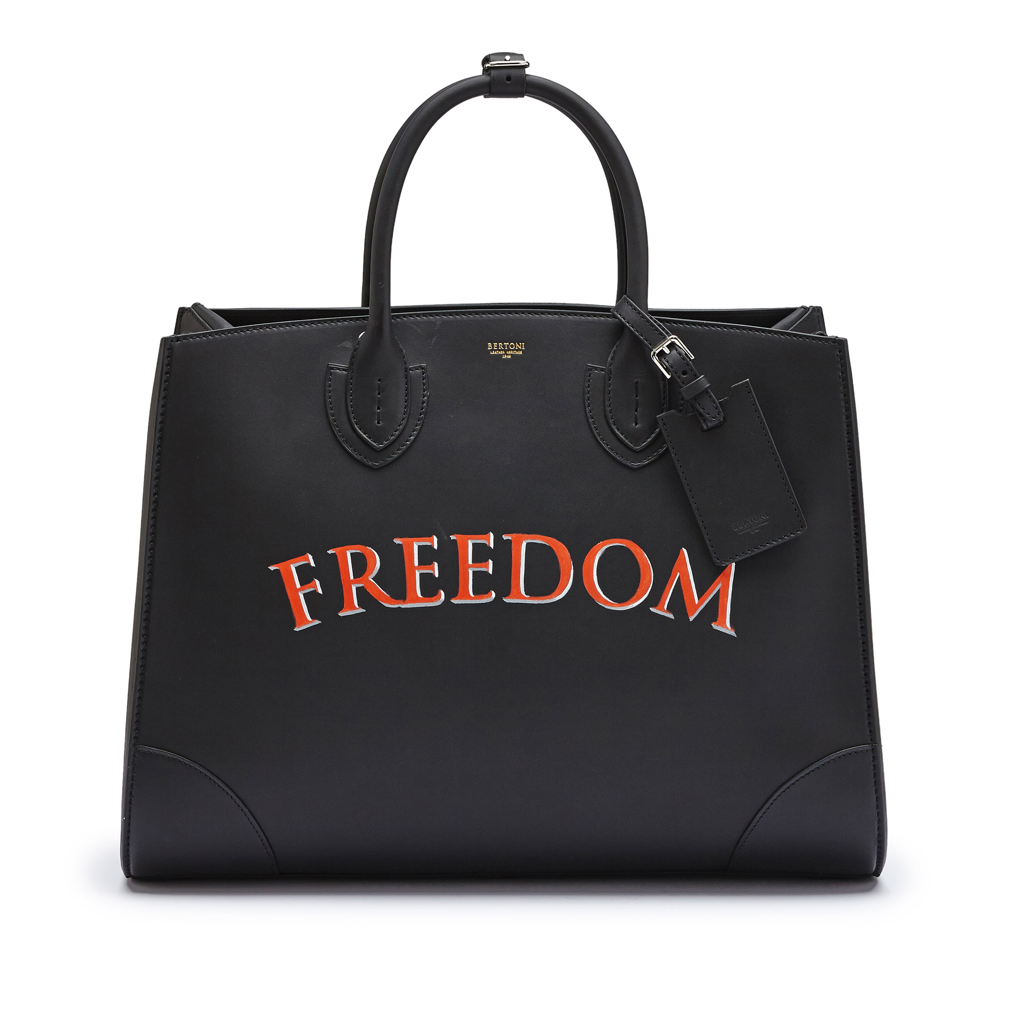 The black with write freedom french calf Maxi Darcy bag by Bertoni 1949 02