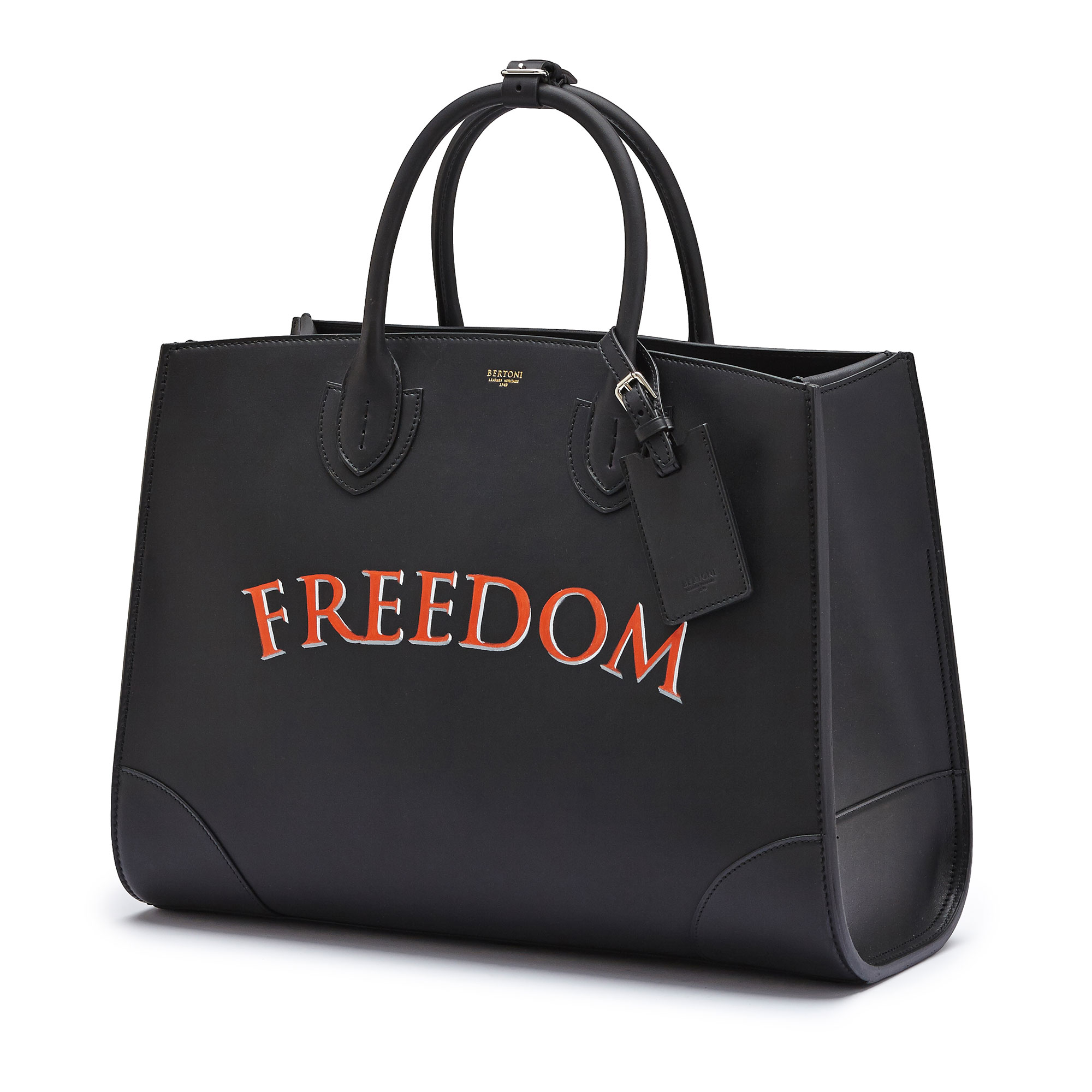 The black with write freedom french calf Maxi Darcy bag by Bertoni 1949 03