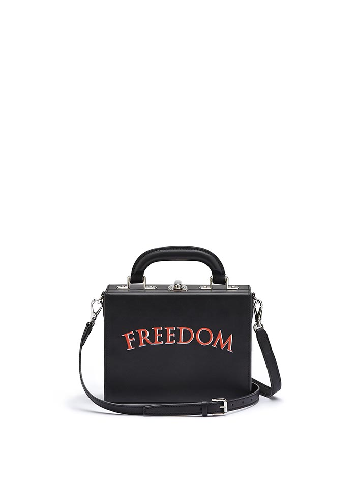 The black with writing freedom french calf Mini Squared Bertoncina bag by Bertoni 1949