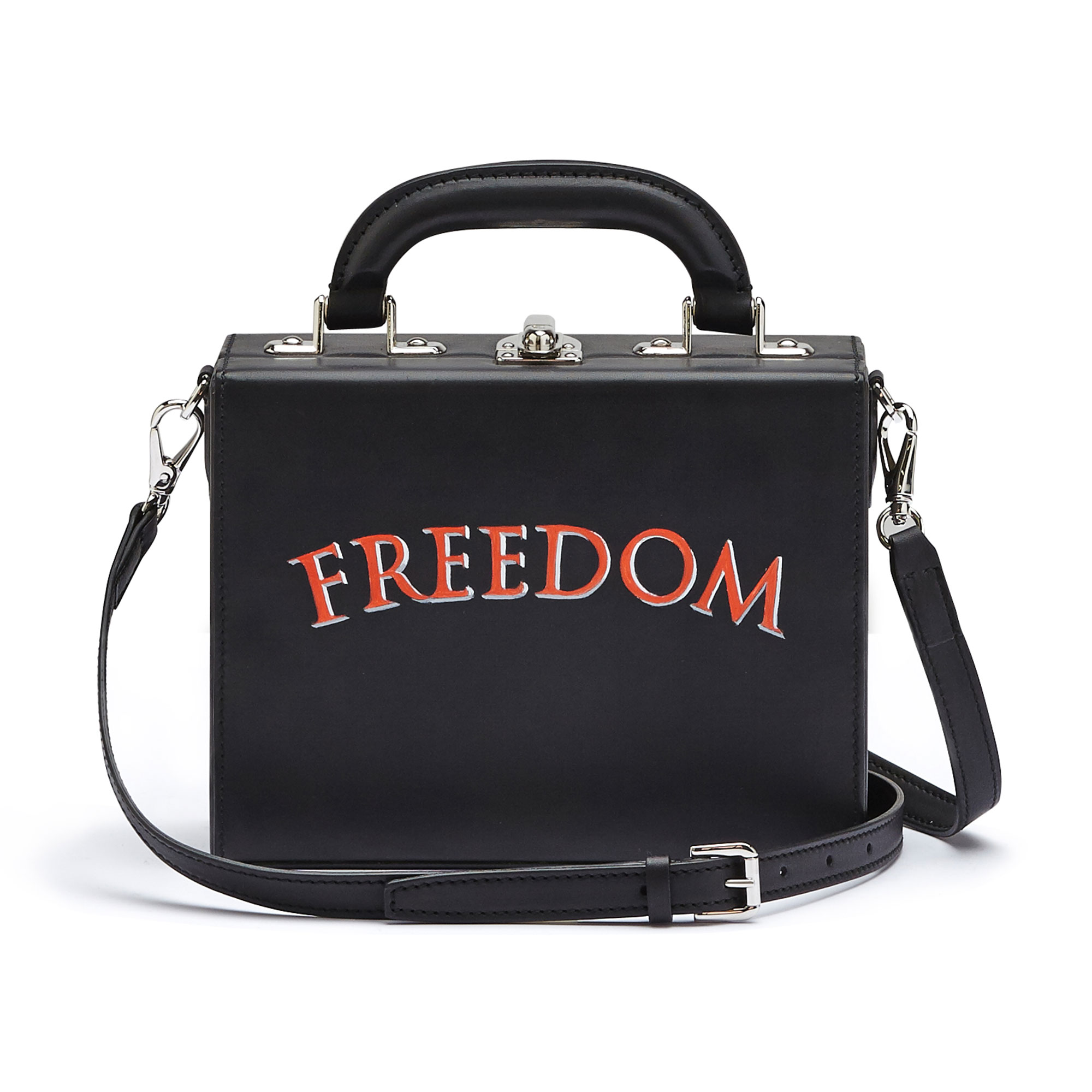 The black with writing freedom french calf Mini Squared Bertoncina bag by Bertoni 1949 03