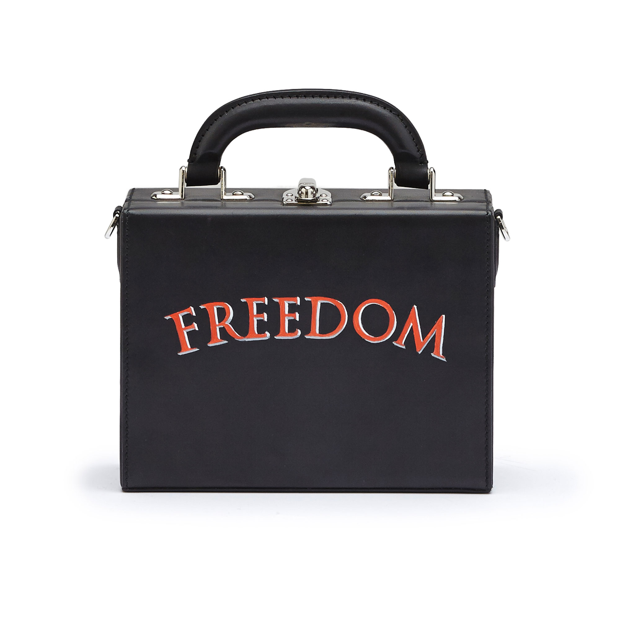 The black with writing freedom french calf Mini Squared Bertoncina bag by Bertoni 1949 01