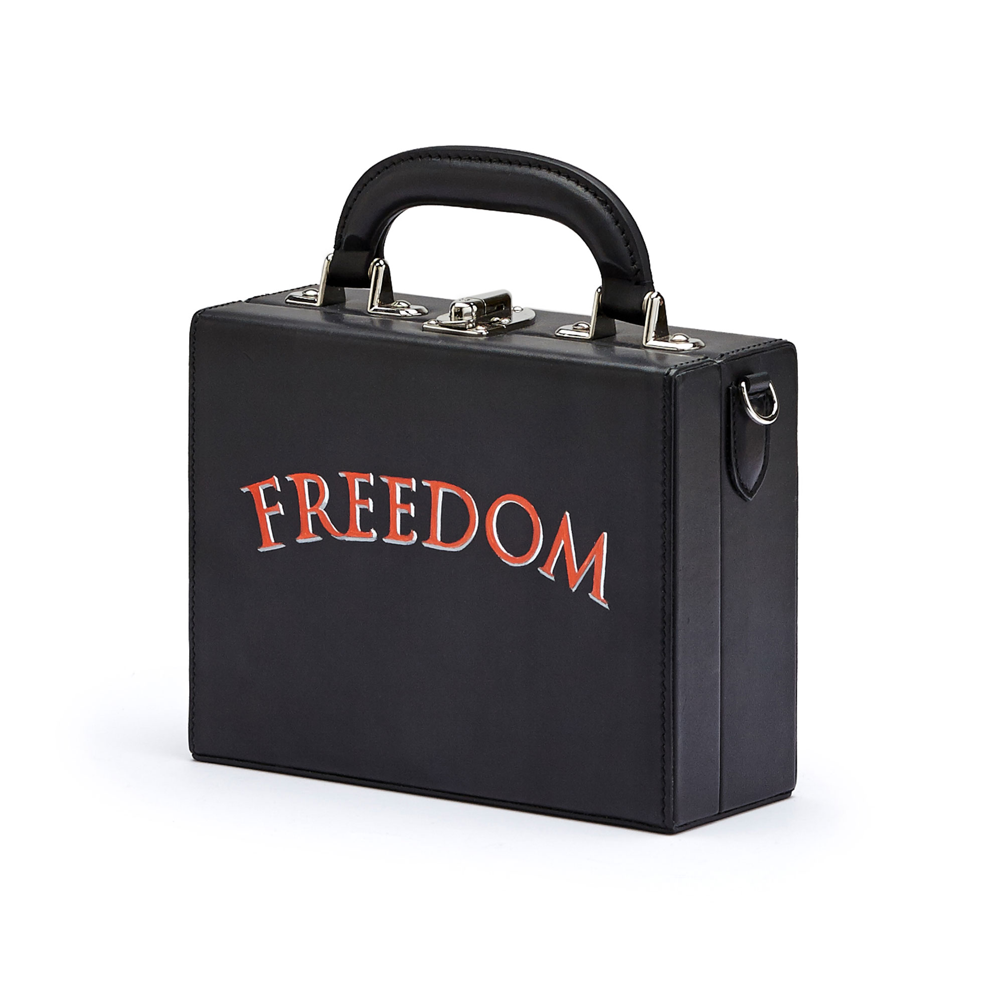 The black with writing freedom french calf Mini Squared Bertoncina bag by Bertoni 1949 02