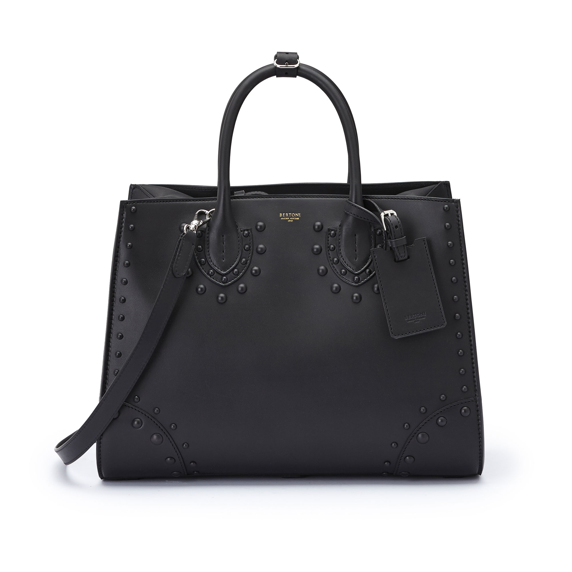 The black french calf Darcy large bag by Bertoni 1949 01