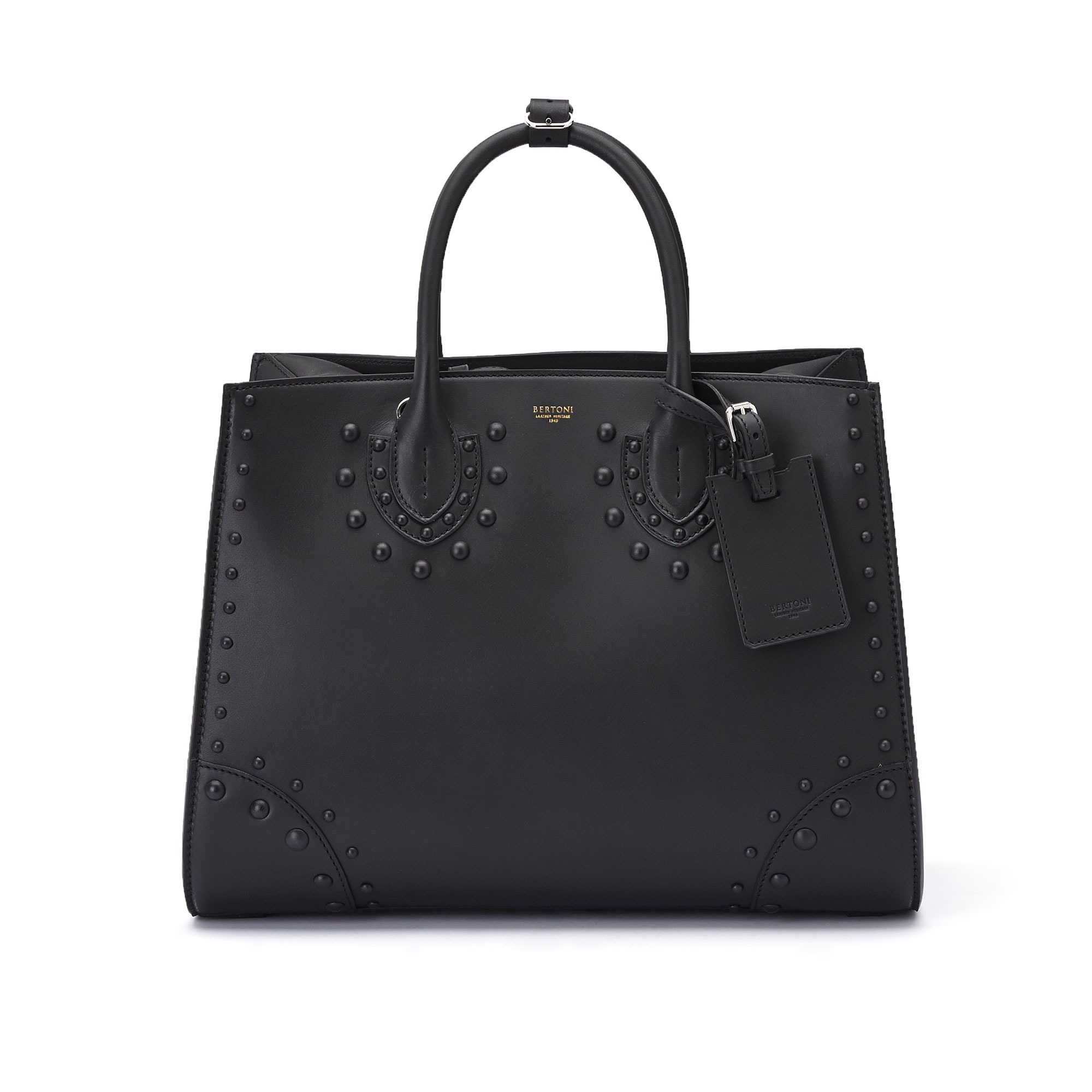 The black french calf Darcy large bag by Bertoni 1949 02