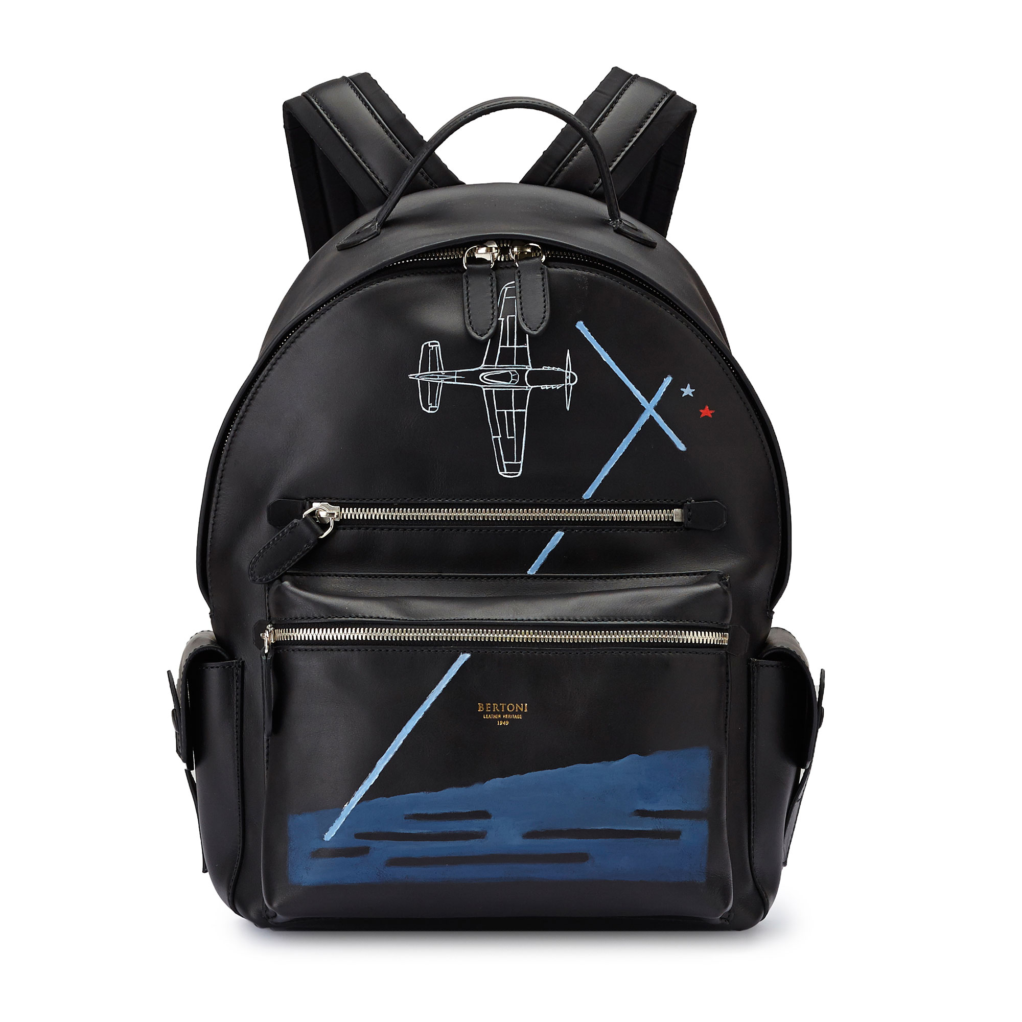 The black french calf Zip Backpack by Bertoni 1949 01