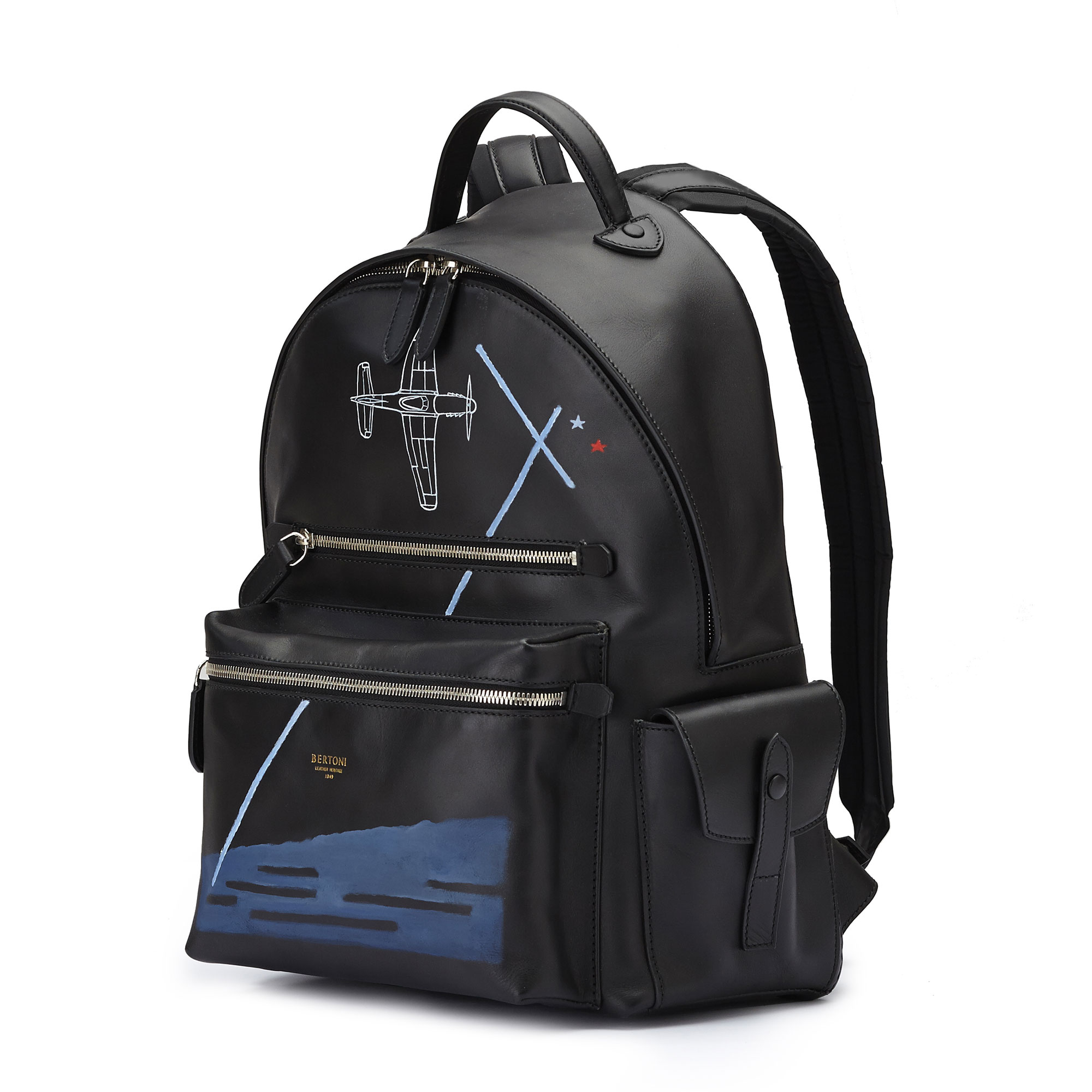 The black french calf Zip Backpack by Bertoni 1949 02